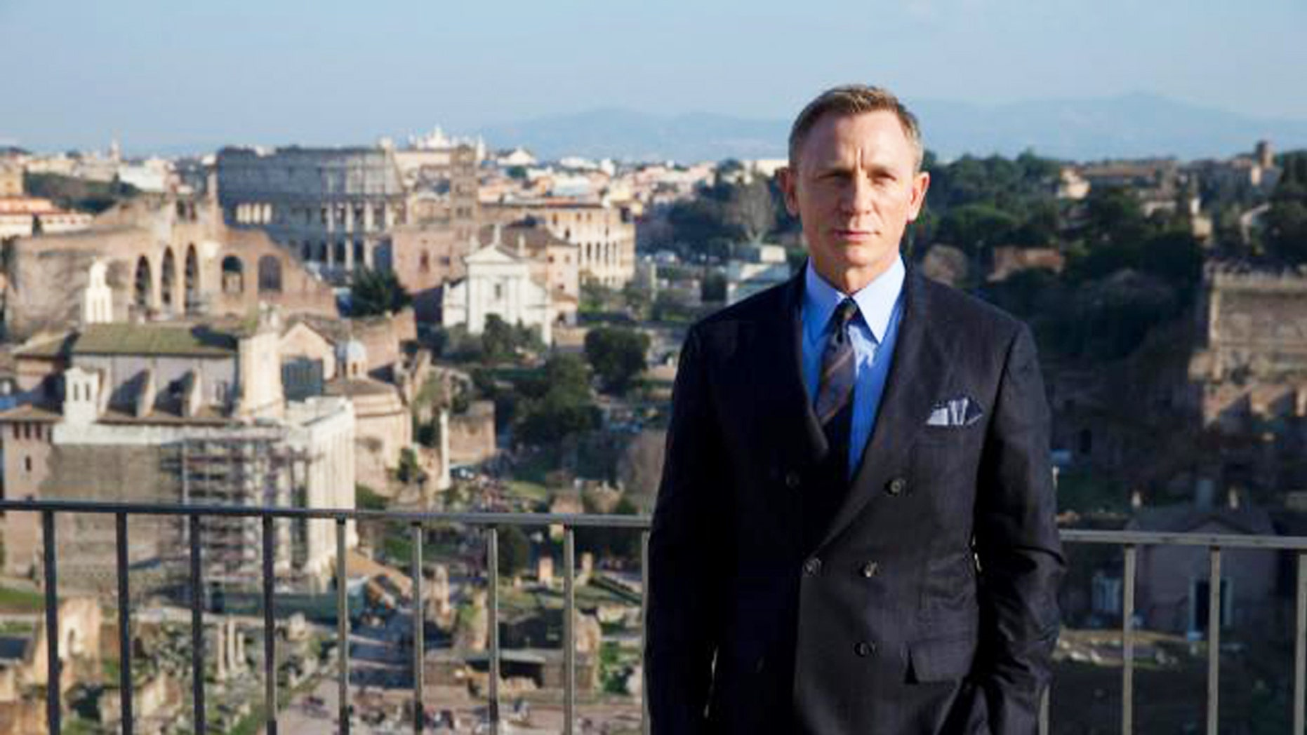 """The newest James Bond, Daniel Craig, poses in Rome, Italy on the set of 2015's """"Spectre."""""""