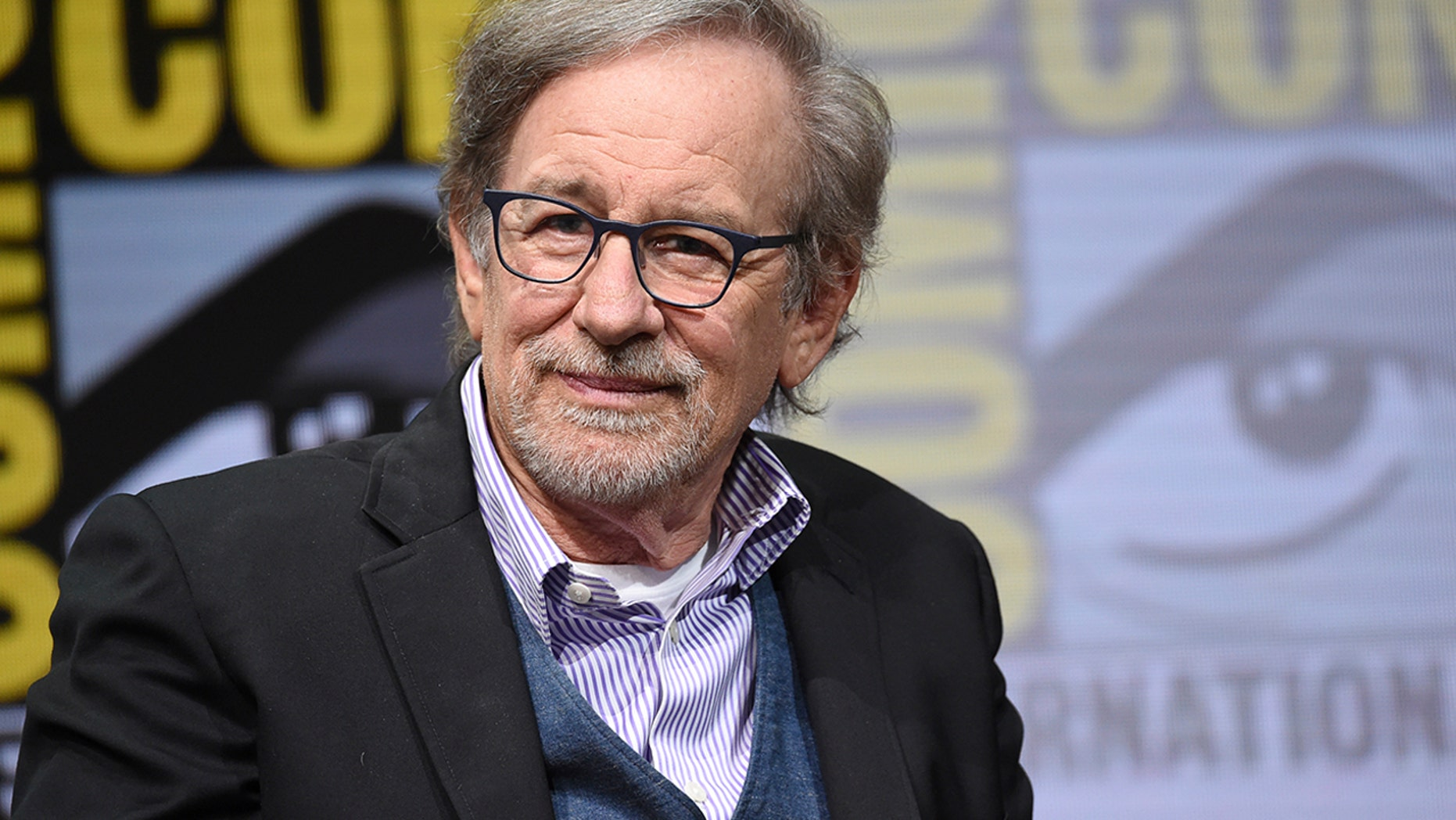 "Steven Spielberg attends the Warner Bros. ""Ready Player One"" panel on day three of Comic-Con International on Saturday in San Diego"