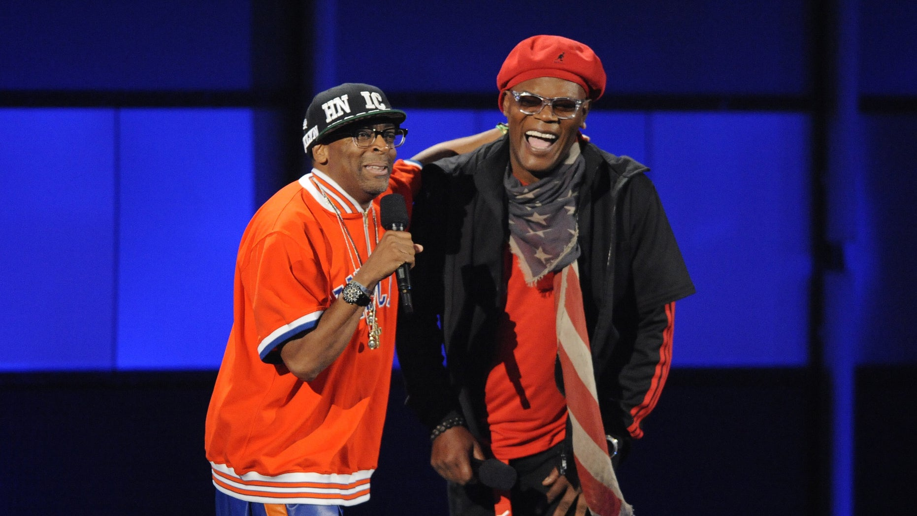 July 1, 2012. Spike Lee (L) and host Samuel L. Jackson perform at the 2012 BET Awards in Los Angeles.