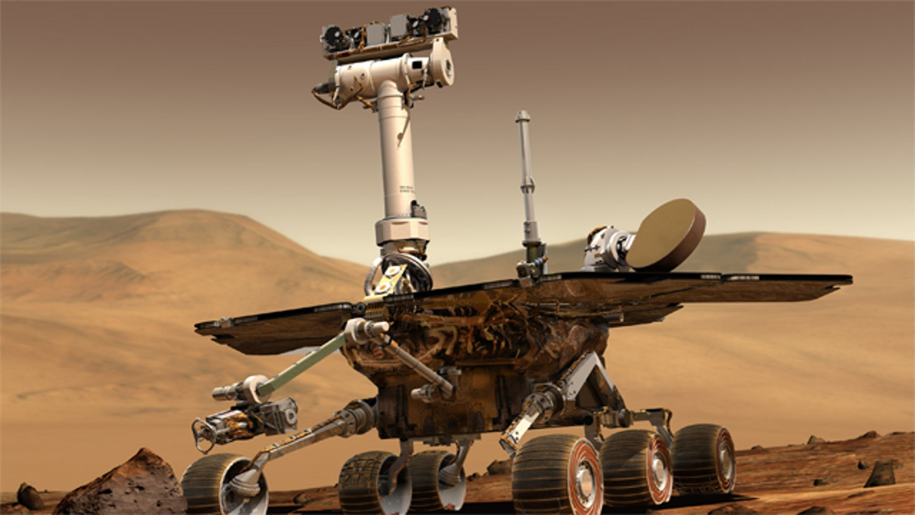 Artist rendering of a Mars Rover on the Red Planet.