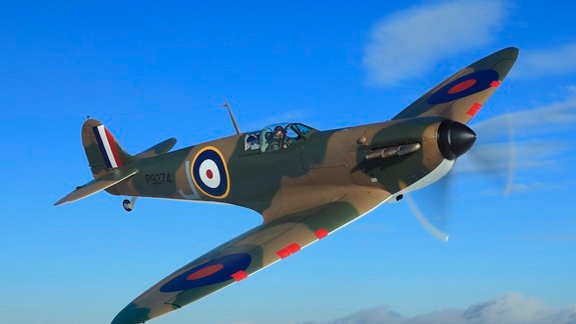 This restored Mk.1 Spitfire warplane was flown by a Royal Air Force (RAF) pilot during World War II.