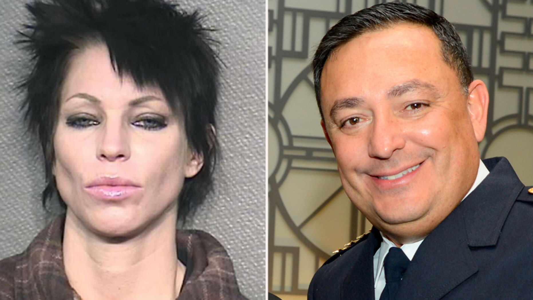 Danielle Paris, seen her in a mugshot for a different offense, was arrested after she allegedly spit in the face of Houston Police Chief Art Acevedo.