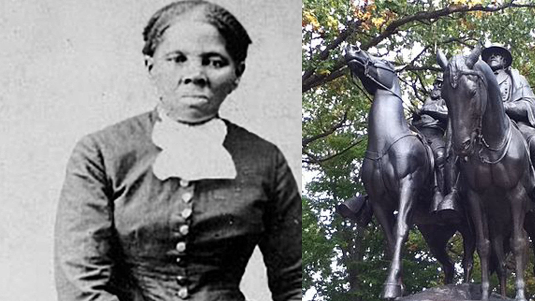 Space in a Baltimore park was dedicated to abolitionist Harriet Tubman, a left, after a statue of Confederate Gens. Robert E. Lee and Stonewall Jackson, at right, was taken down last summer.