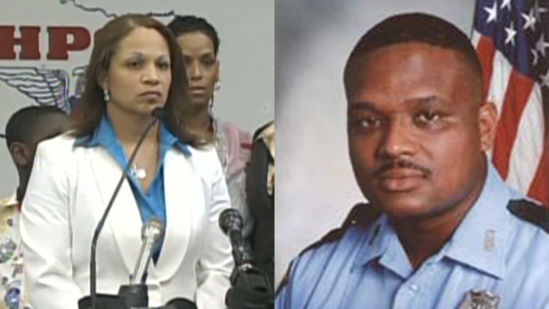 Shown here are Rodney Johnson, right, a Houston police officer killed in 2006, and his widow Joslyn Johnson. (MyFoxHouston)