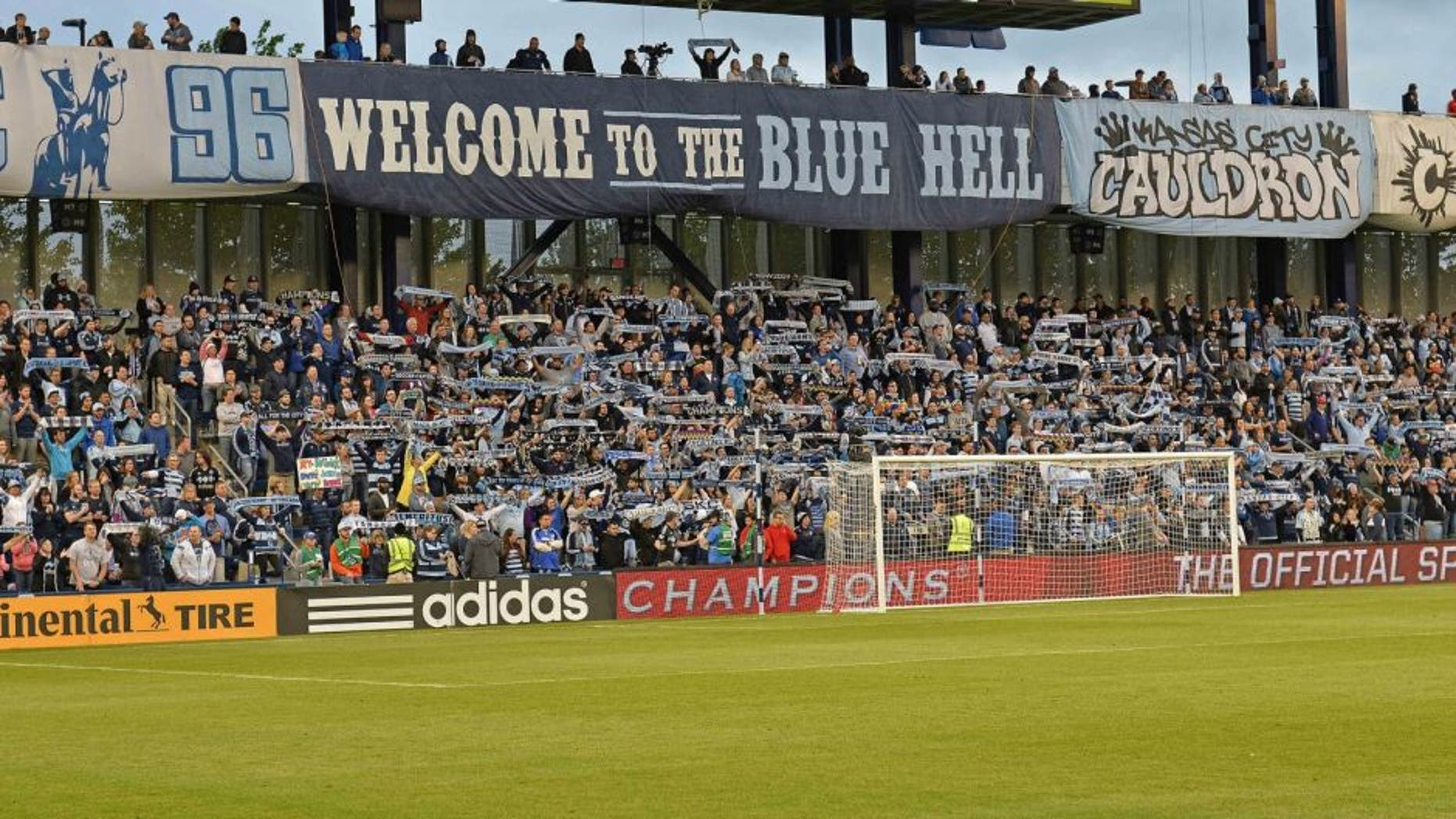 May 1, 2016; Kansas City, KS, USA; Sporting KC fans react prior to the game against the LA Galaxy at Children's Mercy Park. Mandatory Credit: Peter G. Aiken-USA TODAY Sports