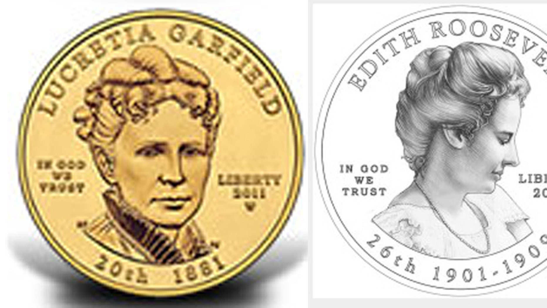 Former first lady Lucretia Garfield, left, made it on a coin in 2011. Edith Roosevelt, right, is set to make her debut later this year.
