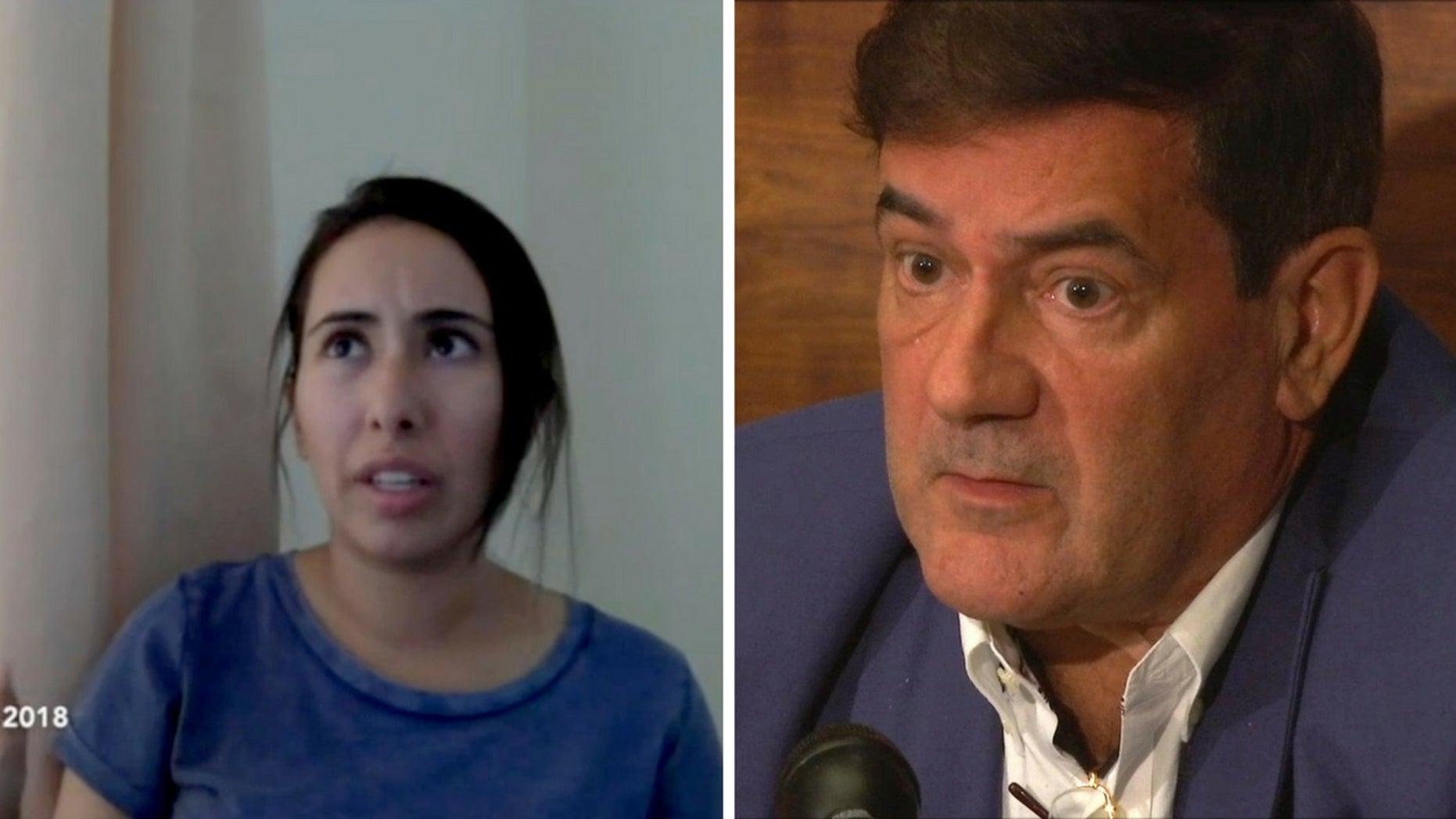 Herve Jaubert, a former French spy, right, said Sheikha Latifa bint Mohammed Al Maktoum, left, has vanished after trying to escape Dubai.