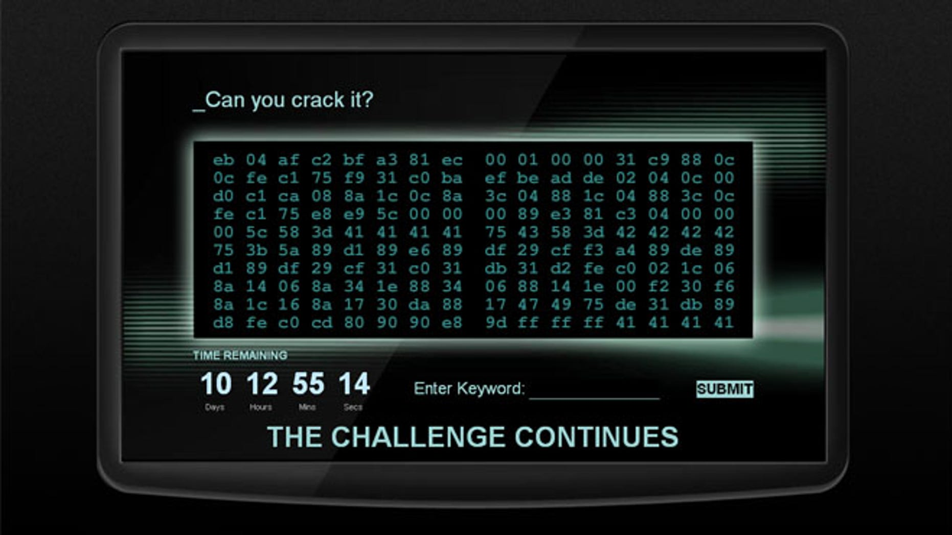 Potential recruits are faced with the grid of numbers and letters and pitted against a timer.