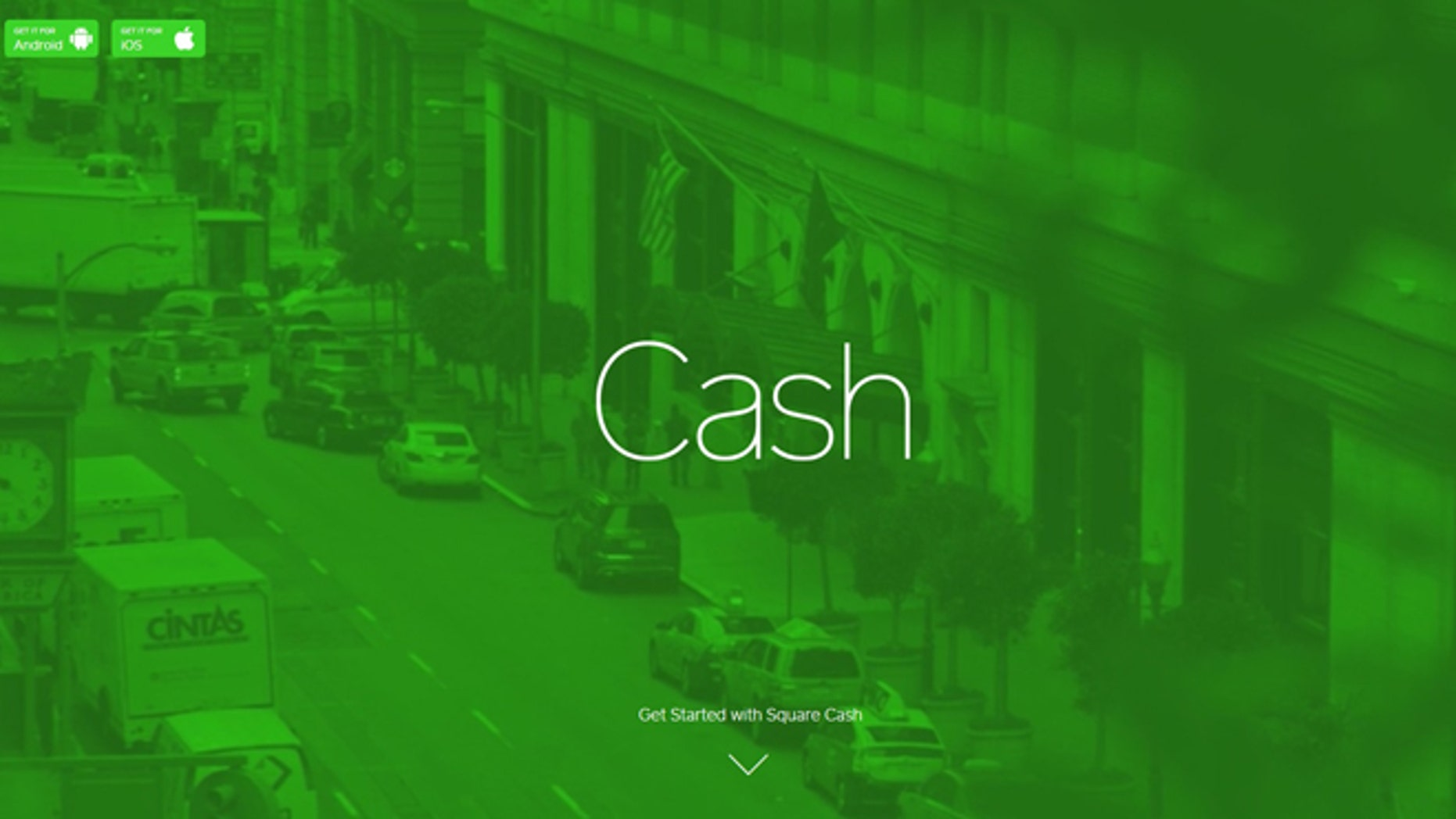A screenshot of a website advertising the new service Square Cash, which lets you easily send money to anyone with an email address -- for free.