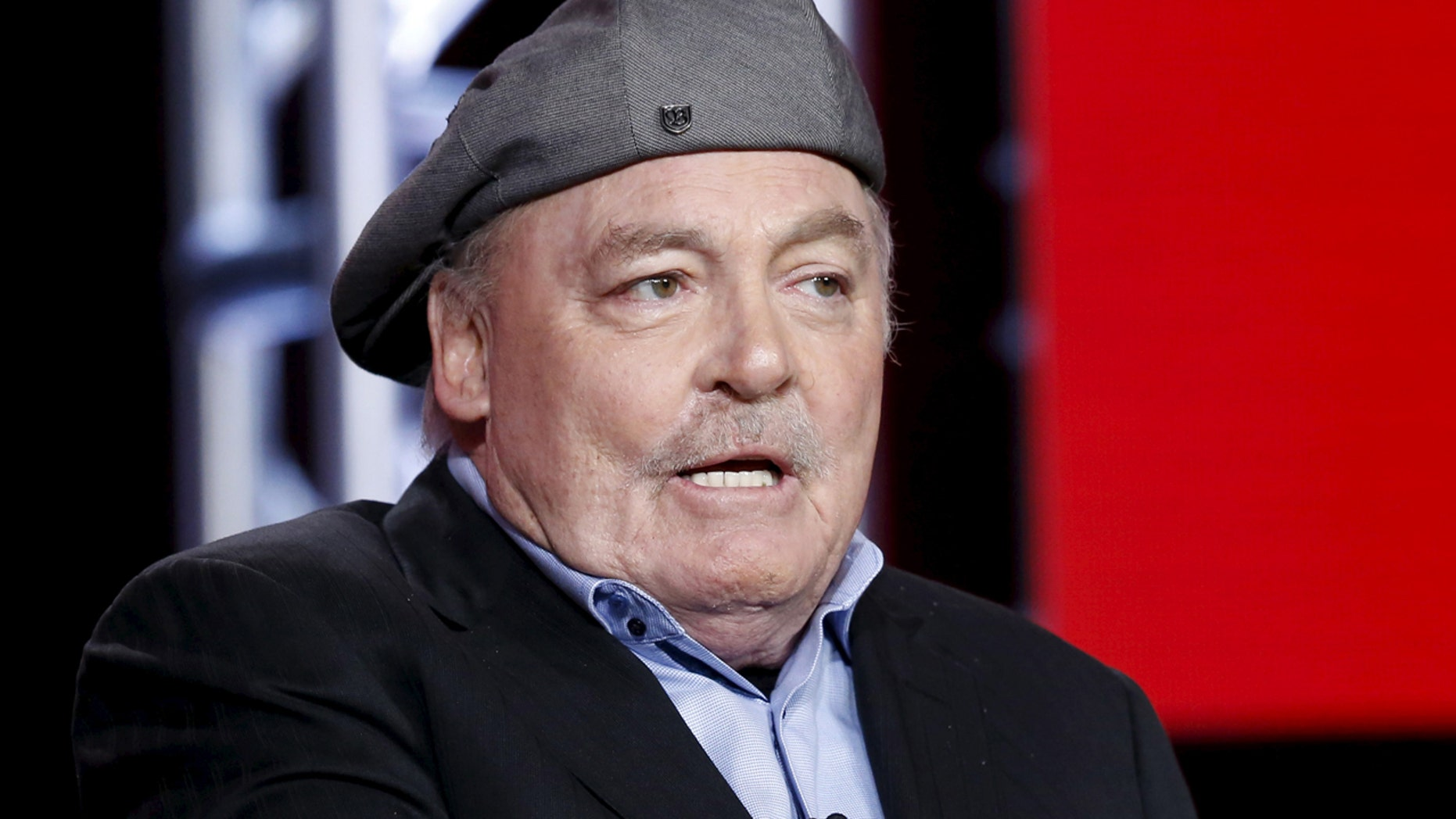 "Cast member Stacy Keach speaks at a panel for the NBC series ""Crowded"" during the Television Critics Association (TCA) Cable Winter Press Tour in Pasadena, California, January 13, 2016.  REUTERS/Mario Anzuoni - RTX22A26"