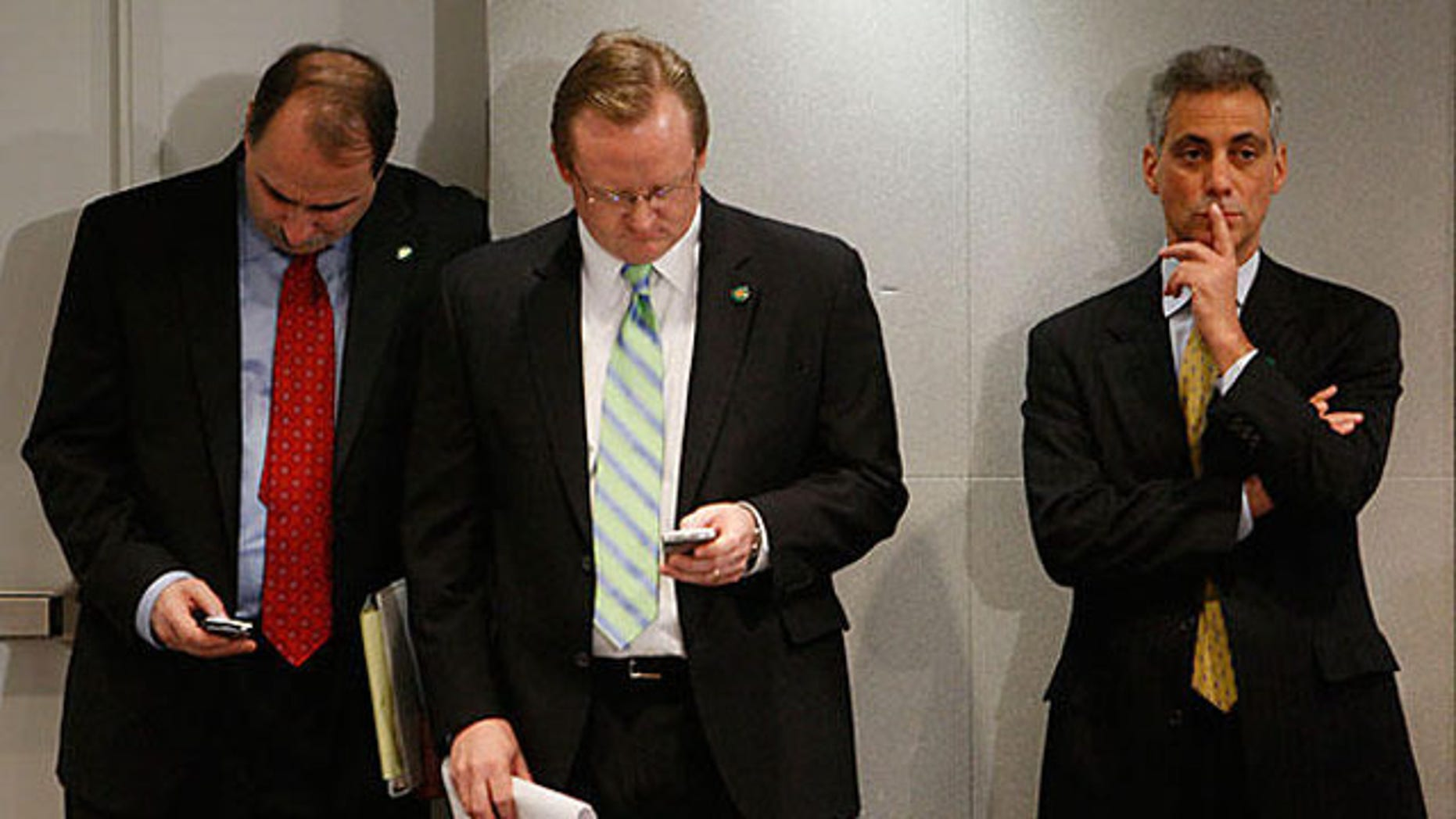 Shown in this January 2009 photo are David Axelrod, left, Robert Gibbs, middle, and Rahm Emanuel. (AP Photo)
