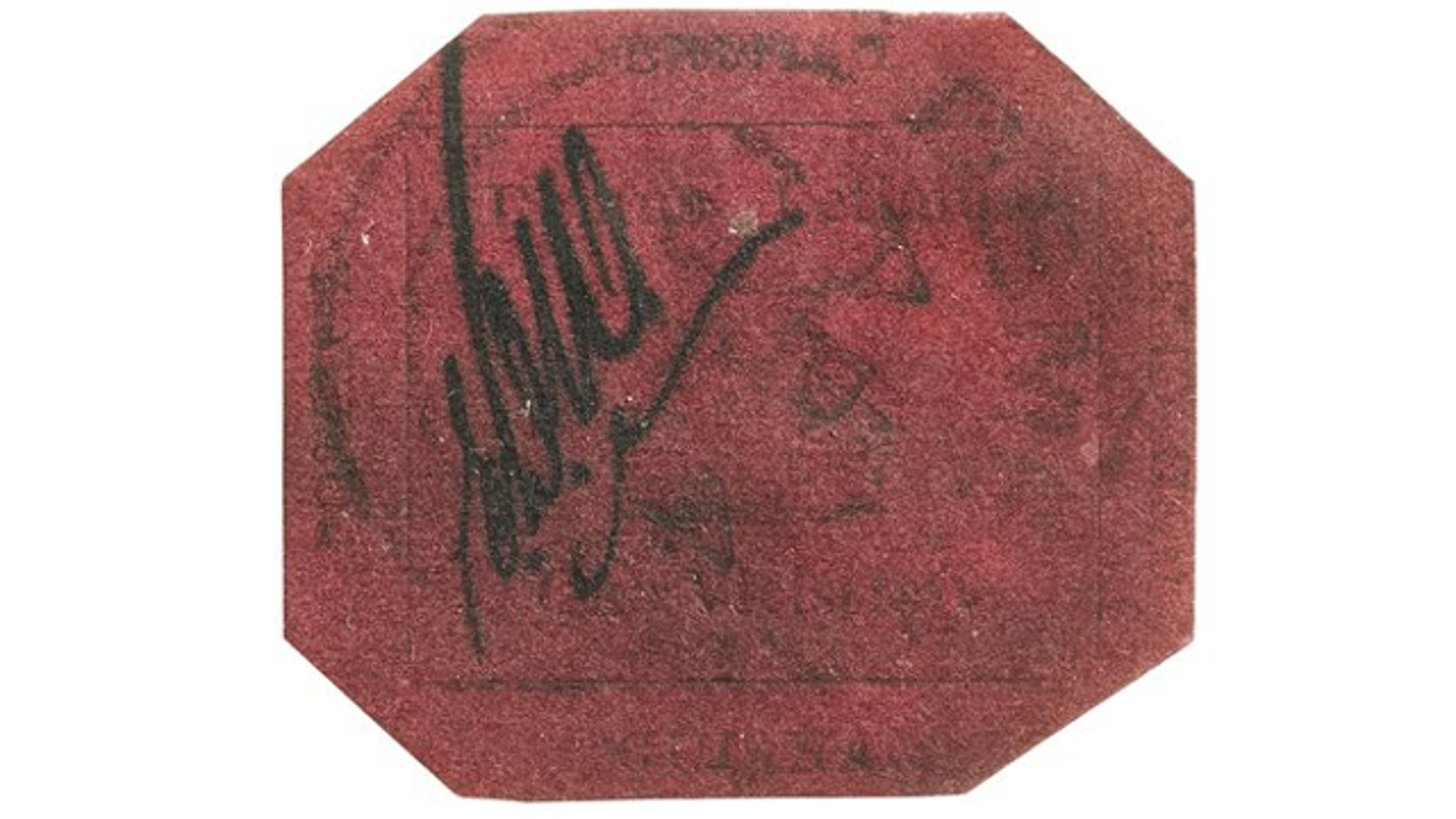 UNDATED: In this photo provided by Sotheby's Auction House, the one-cent 1856 British Guiana stamp is shown.