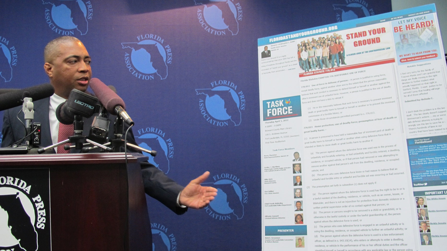 "State Sen. Chris Smith, D-Fort Lauderdale, announces plans for a task force made up of current and former prosecutors and defense attorneys,  to study Florida's ""Stand Your Ground"" gun law. (AP Photo/Tallahassee Democrat, Bill Cotterell)"