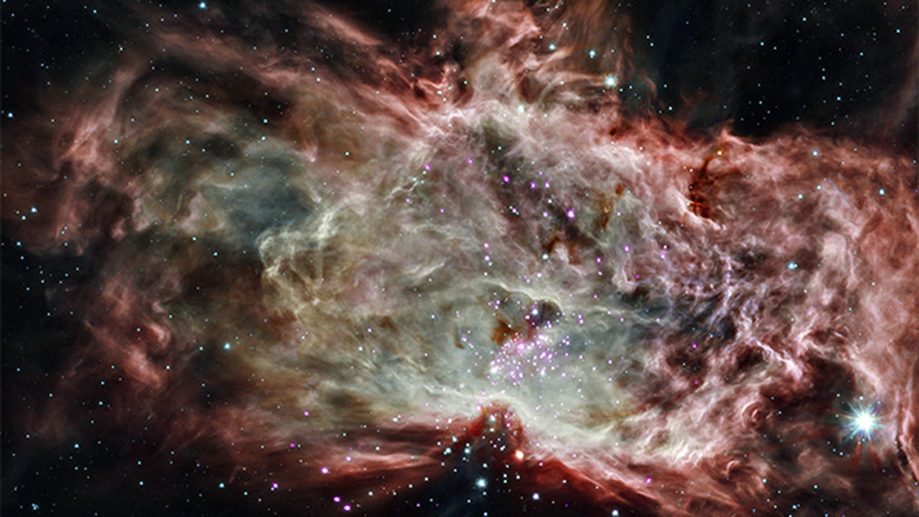 NGC 2024 is a star cluster found in the center of the Flame Nebula, approximately 1,400 light-years from Earth. This observation combines X-ray and infrared data from NASA's Chandra and Spitzer space telescopes, respectively.