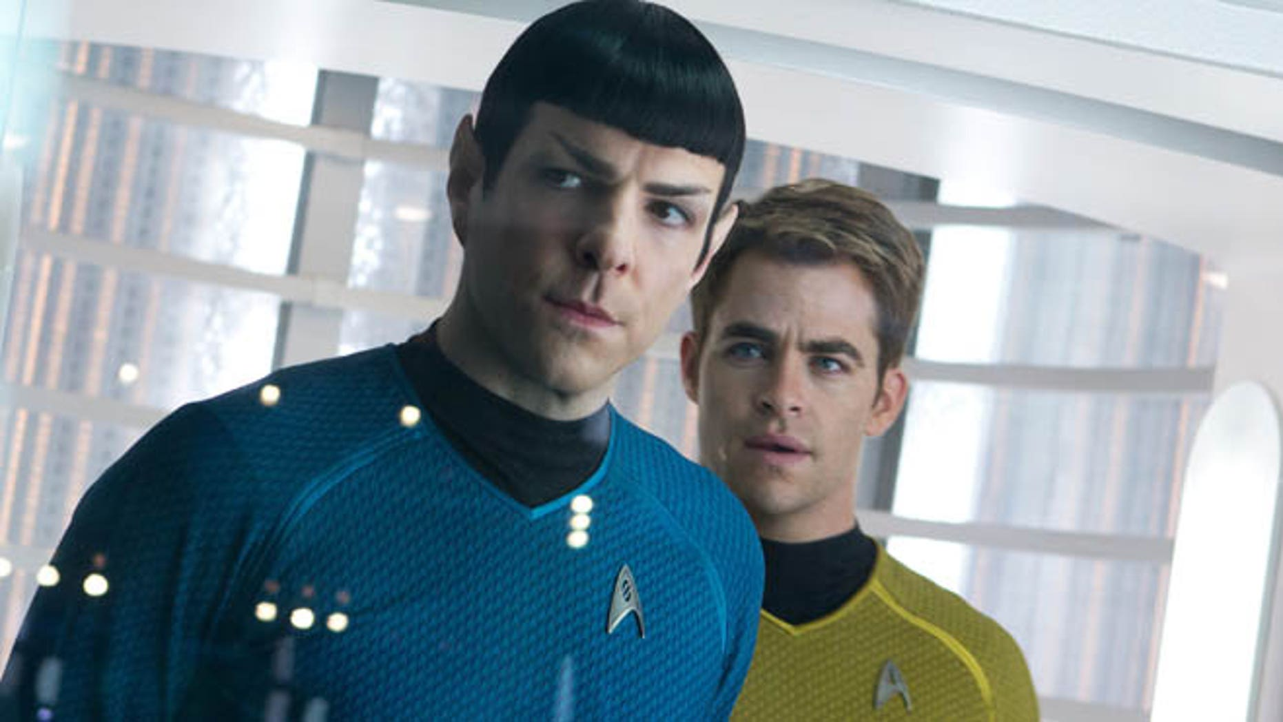 """May 16, 2013: This undated publicity film image released by Paramount Pictures shows, Zachary Quinto, left, as Spock and Chris Pine as Kirk in a scene in the movie, """"Star Trek Into Darkness,"""" from Paramount Pictures and Skydance Productions. The three astronauts in the International Space Station were offered a sneak peak of the movie days before it opens on Earth."""