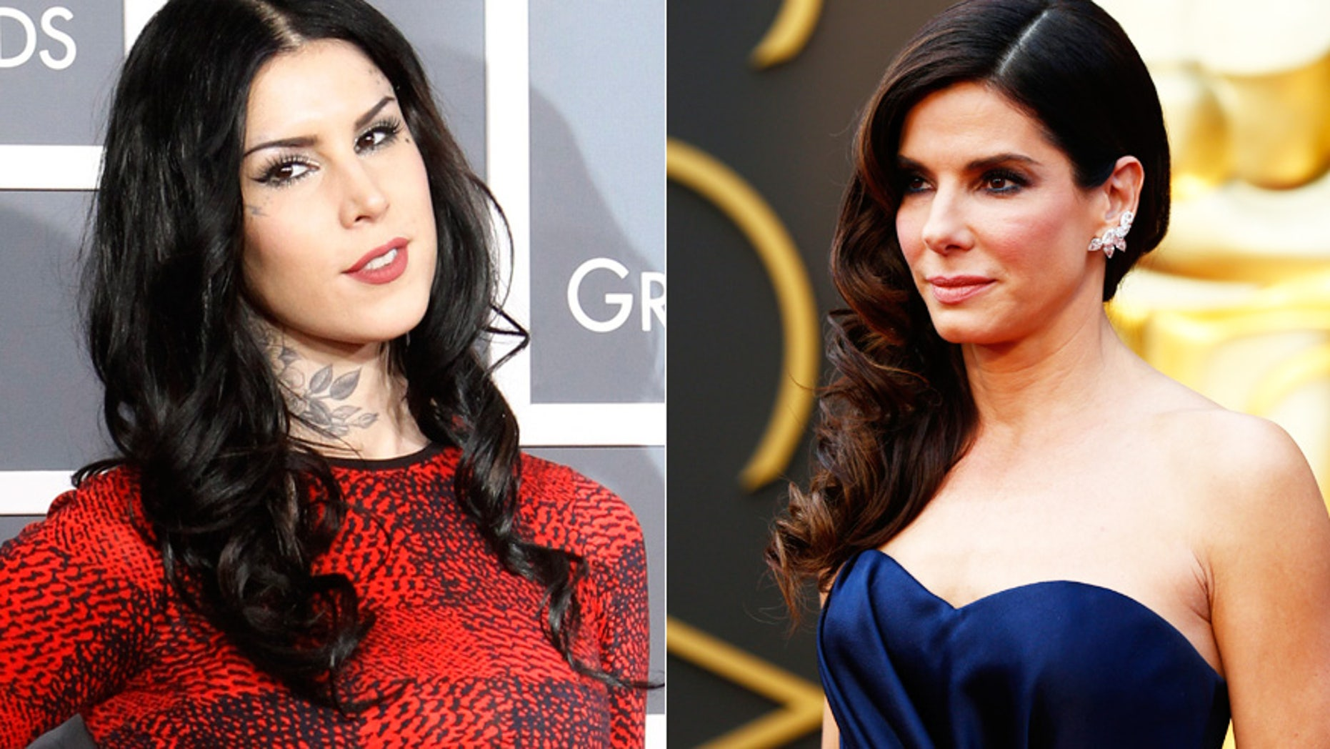 Kat Von D, left, and Sandra Bullock have both recently dealt with crazed fans and security concerns.