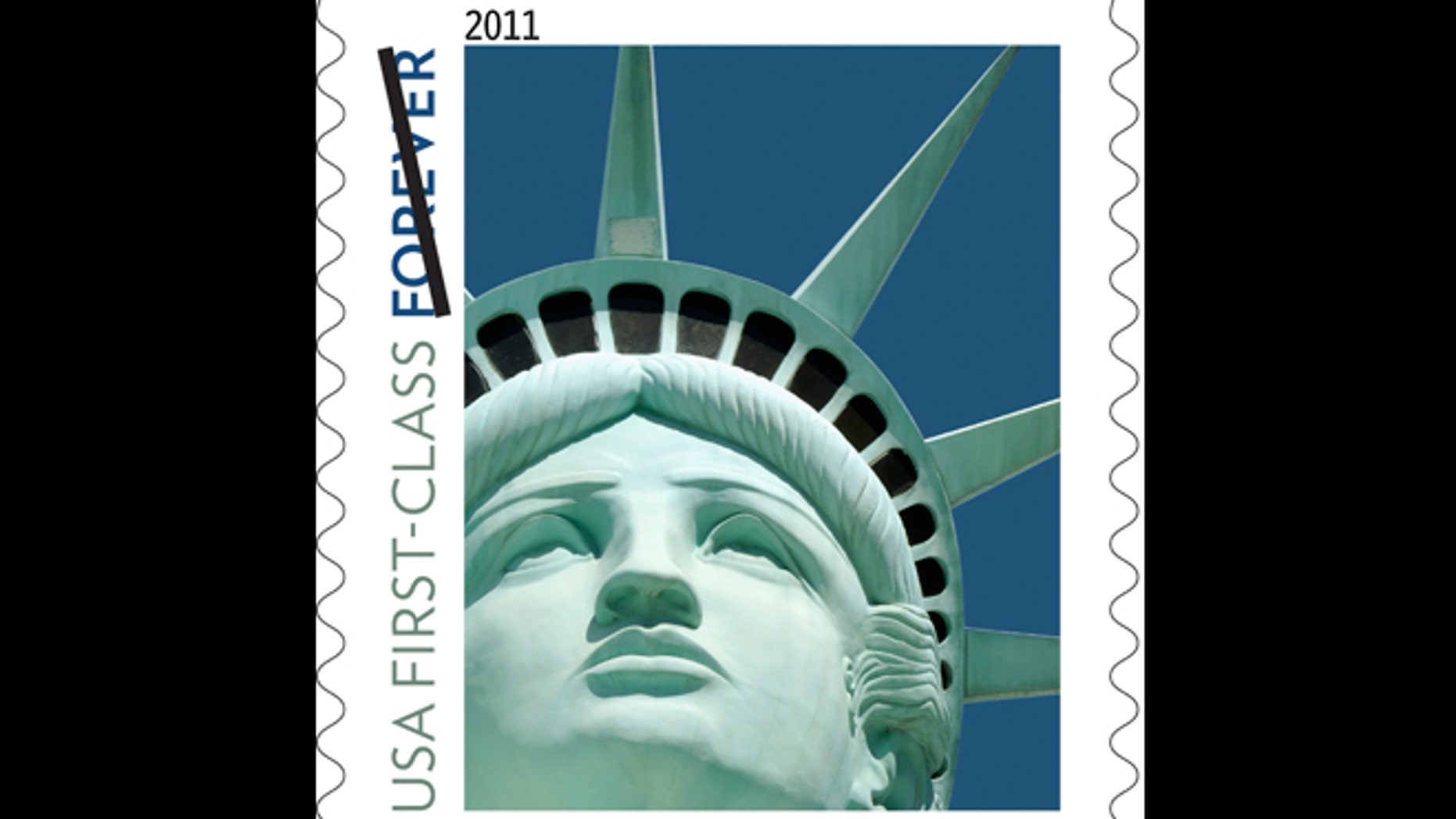 This undated file handout image provided by the U.S. Postal Service shows the Lady Liberty first class postage stamp first issued in 2011. An embarrassing Statue of Liberty forever stamp mistake is coming back to haunt the Postal Service.The design released in 2011 was not based on the statue in New York Harbor, as intended, but on a replica outside the New York-New York casino hotel in Las Vegas. Now, the sculptor who made the Lady Liberty of the Las Vegas Strip is suing the government for copyright infringement.