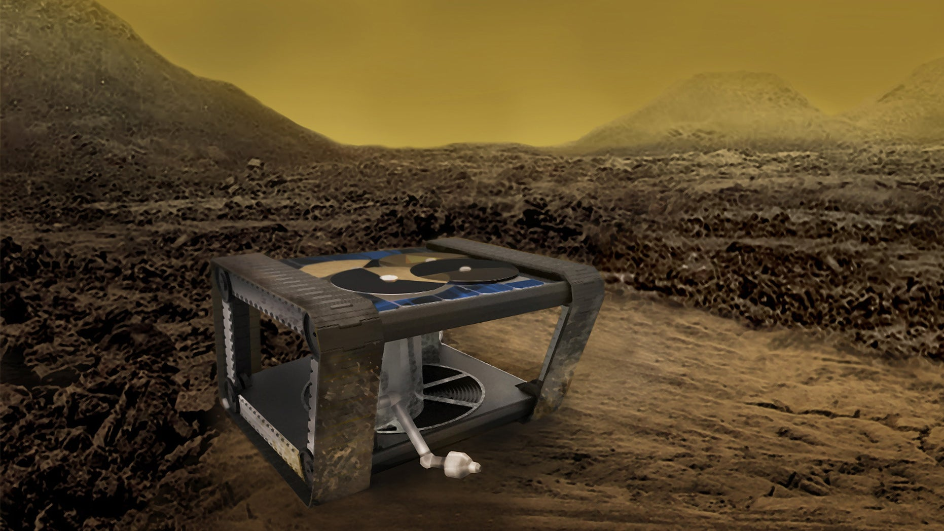 Artist's illustration of the Automaton Rover for Extreme Environments (AREE), a concept vehicle inspired by mechanical computers that could someday explore the surface of Venus.