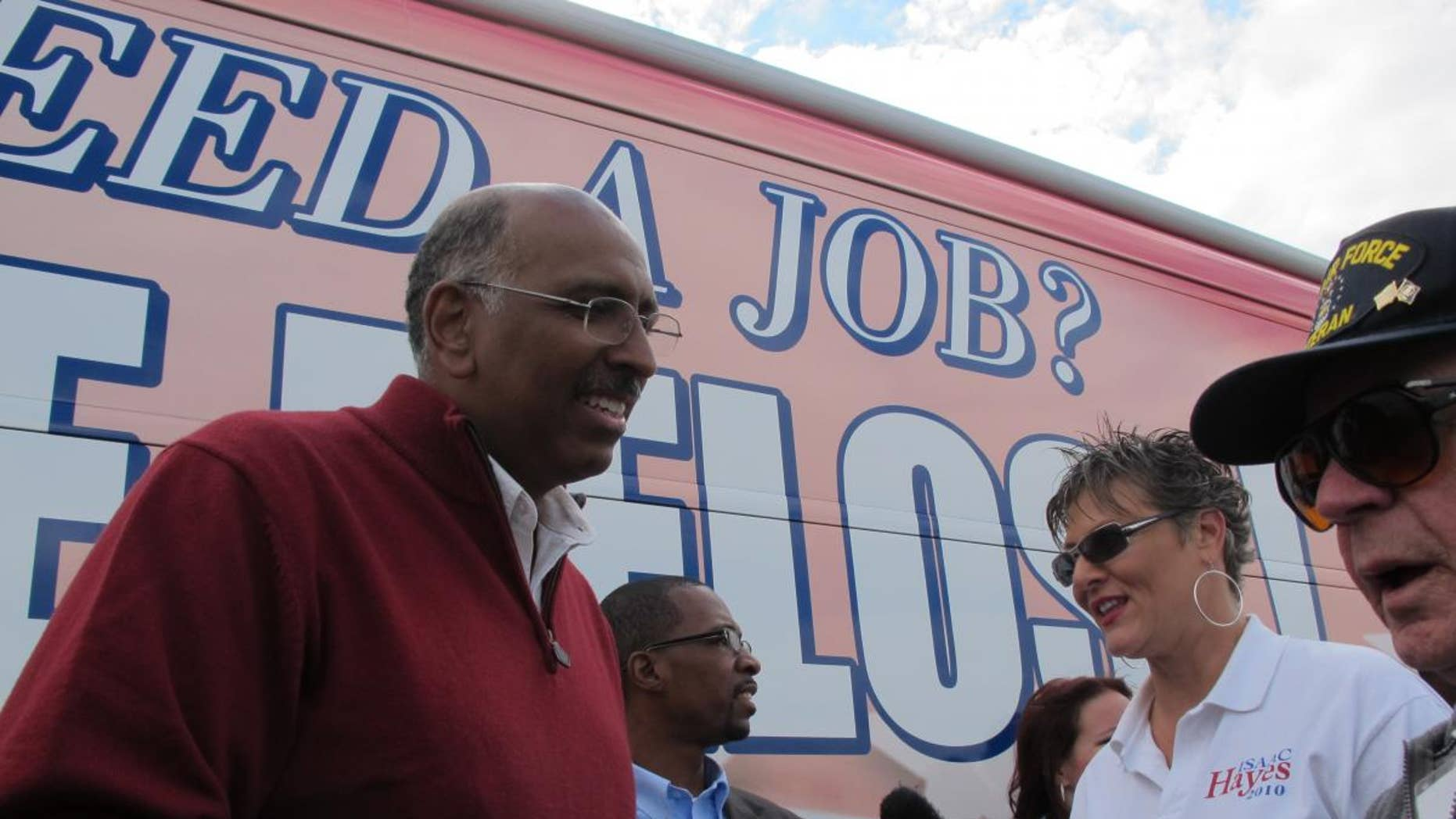 """RNC Chairman Michael Steele (left) meets with voters on the party's """"Fire Pelosi"""" tour leading up to the Nov. 4 midterms. (Fox News Photo)"""
