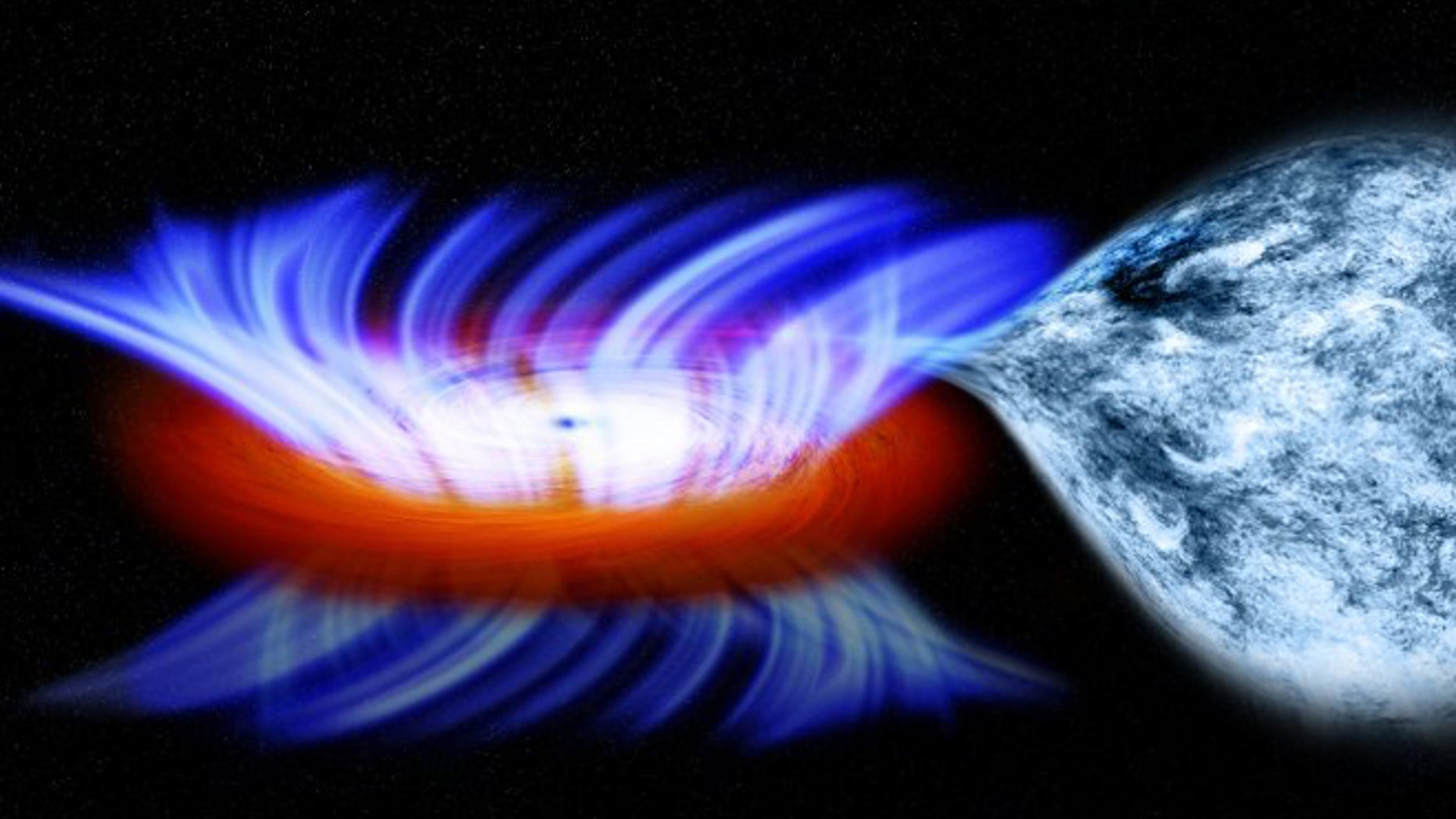 This artist's impression shows a binary system containing a stellar-mass black hole called IGR J17091-3624. The strong gravity of the black hole, on the left, is pulling gas away from a companion star on the right. This gas forms a disk of hot gas around the black hole, and the wind is driven off this disk at 20 million mph.