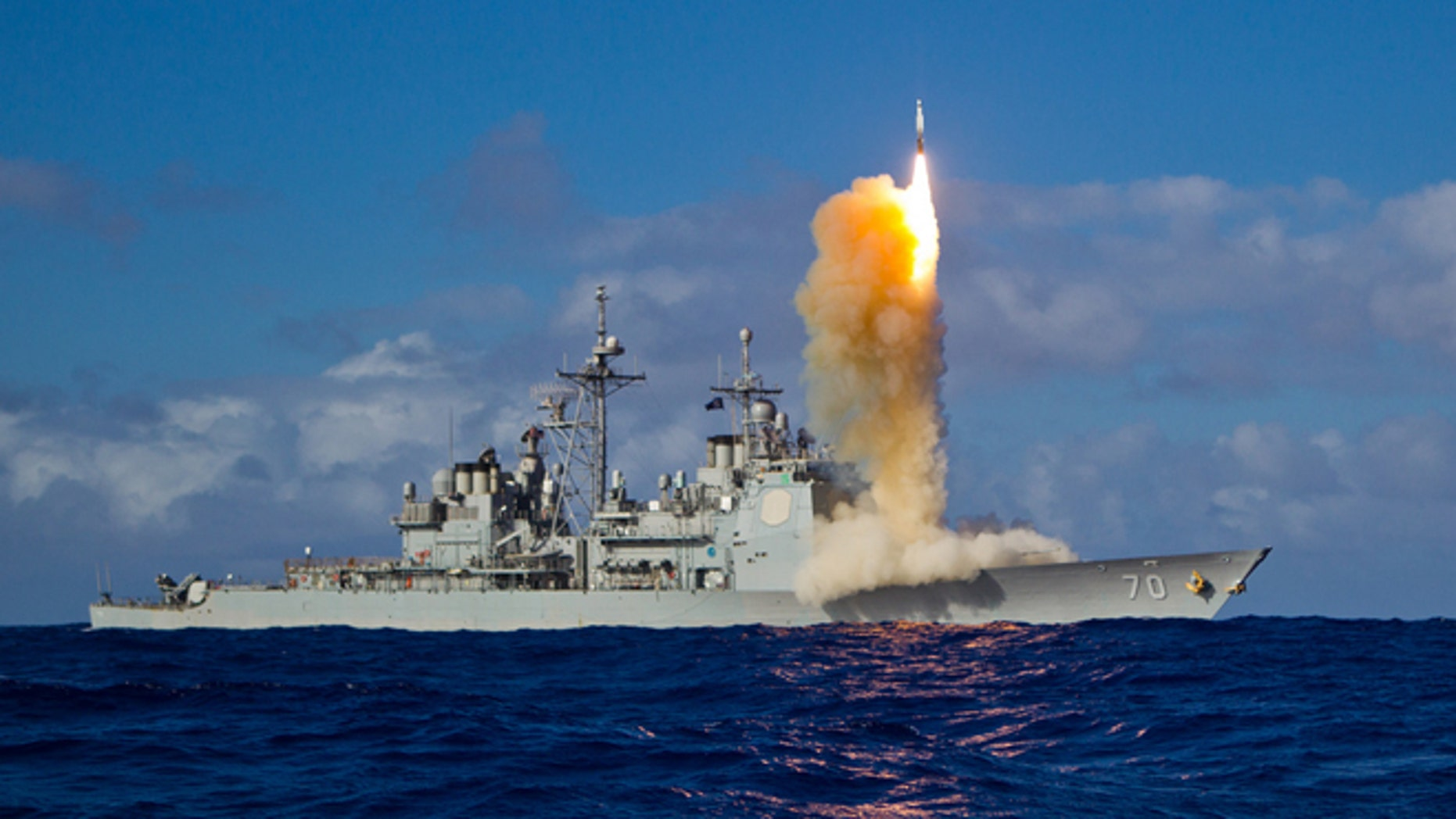 May 16, 2013: A Standard Missile  3 (SM-3) Block 1B interceptor is launched from the USS LAKE ERIE (CG 70) during a Missile Defense Agency and U.S. Navy test in the mid-Pacific.
