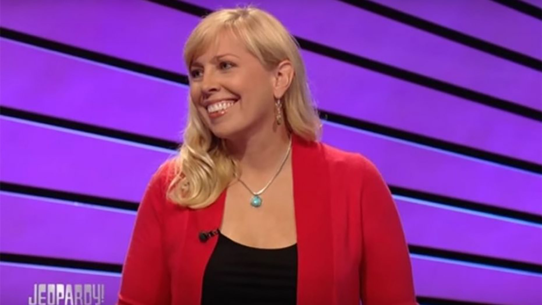 "Stephanie Jass, of Tecumseh, Mich., is seen during her winning streak on ""Jeopardy!"" in 2012."