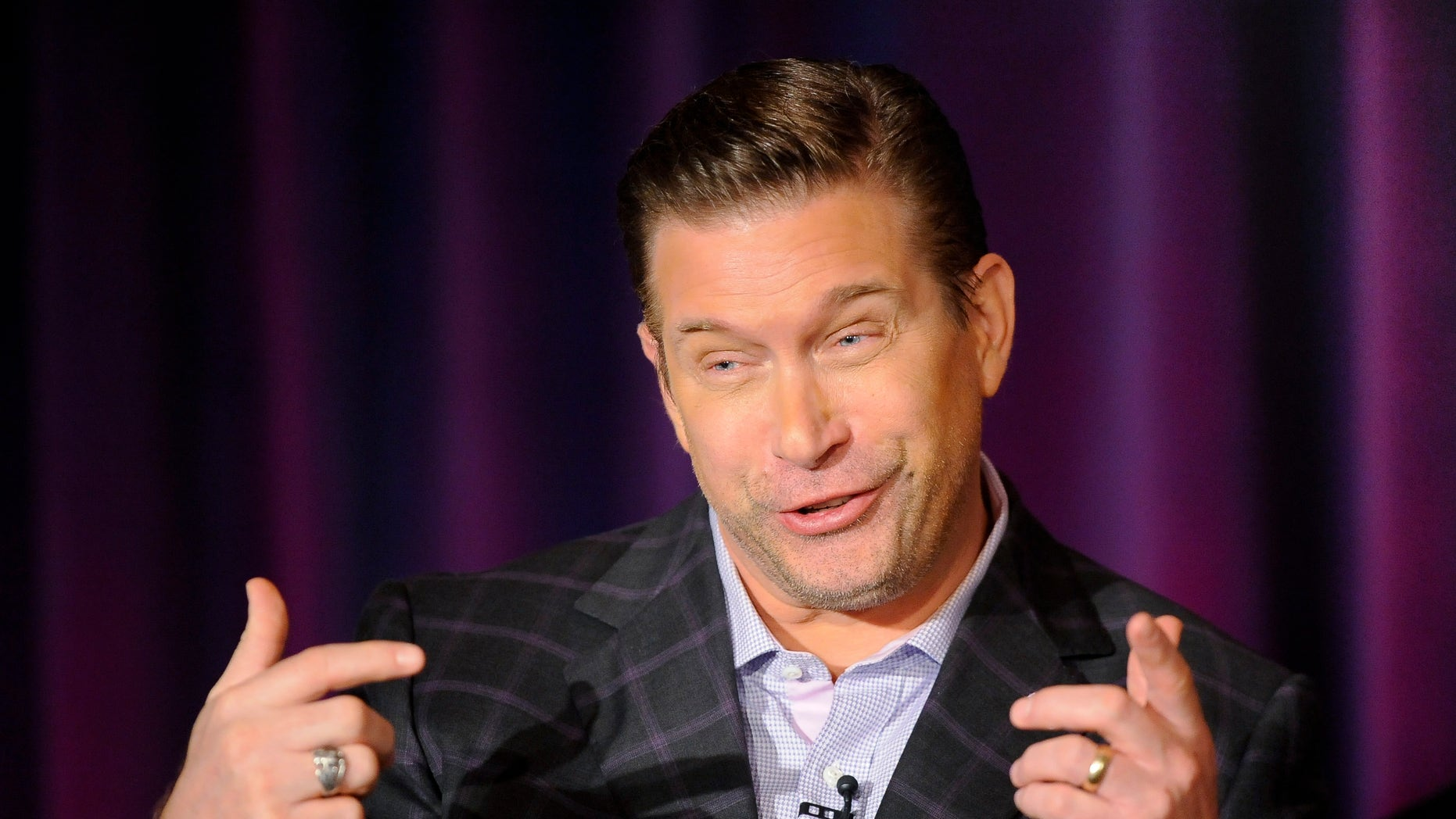 """January 6, 2013. Stephen Baldwin takes part in a panel discussion of NBC's series """"All-Star Celebrity Apprentice"""" during the 2013 Winter Press Tour for the Television Critics Association in Pasadena, California."""