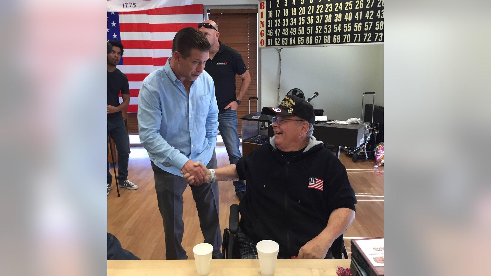 Stephen Baldwin shakes the hand of Vietnam veteran, Ronald Sumner in Fresno, Calif. at the local VA hospital. (Courtesy of the author)