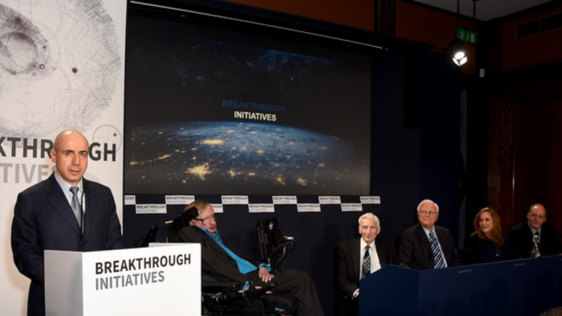 The announcement of the Breakthrough Listen and Breakthrough Message initiatives was made today (July 20) in London. Making the announcement were Internet investor Yuri Milner and physicist Stephen Hawking.
