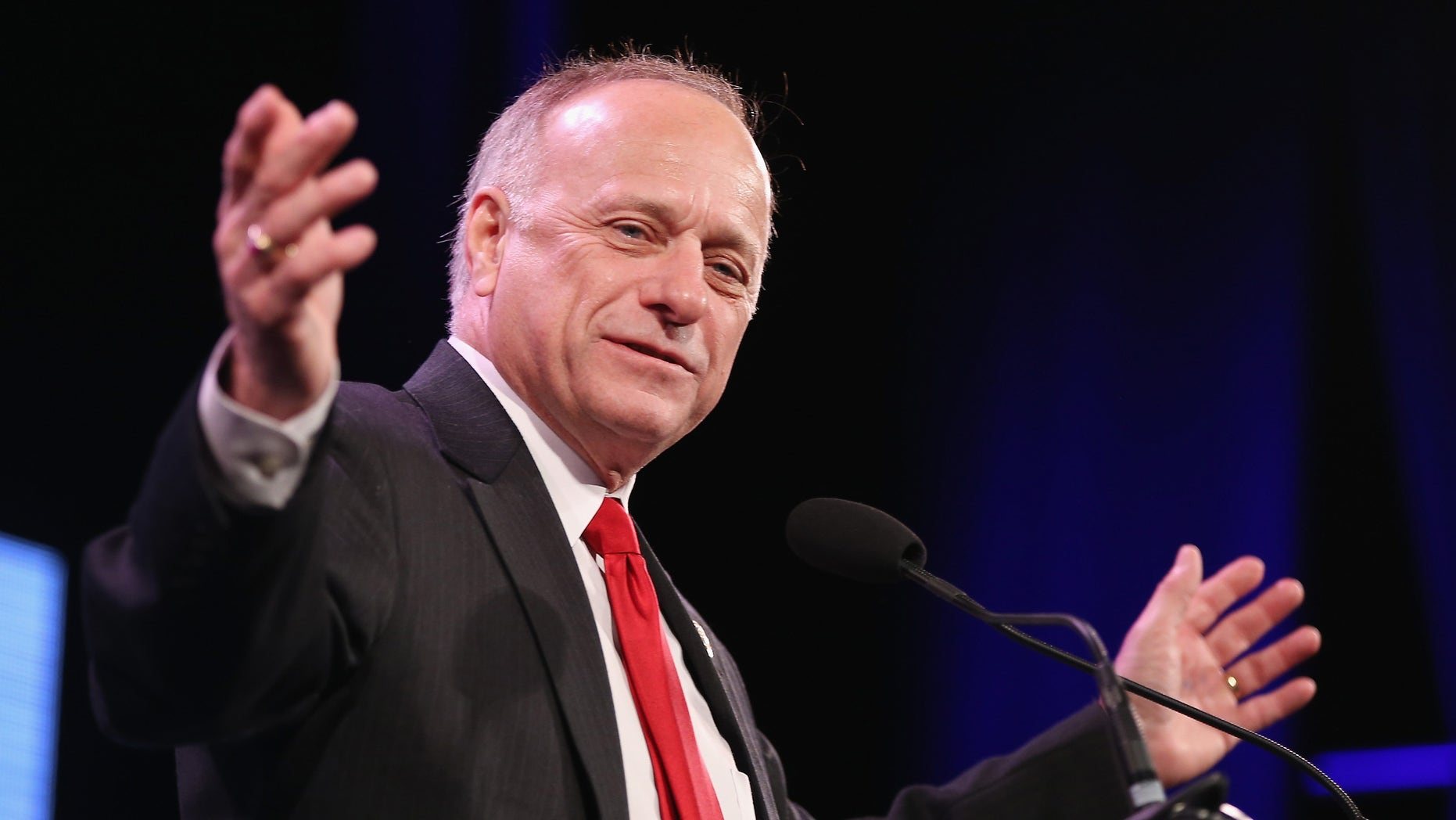 DES MOINES, IA - JANUARY 24:  U.S. Representative Steve King (R-IA) speaks to guests  at the Iowa Freedom Summit on January 24, 2015 in Des Moines, Iowa. The summit is hosting a group of potential 2016 Republican presidential candidates to discuss core conservative principles ahead of the January 2016 Iowa Caucuses.  (Photo by Scott Olson/Getty Images)