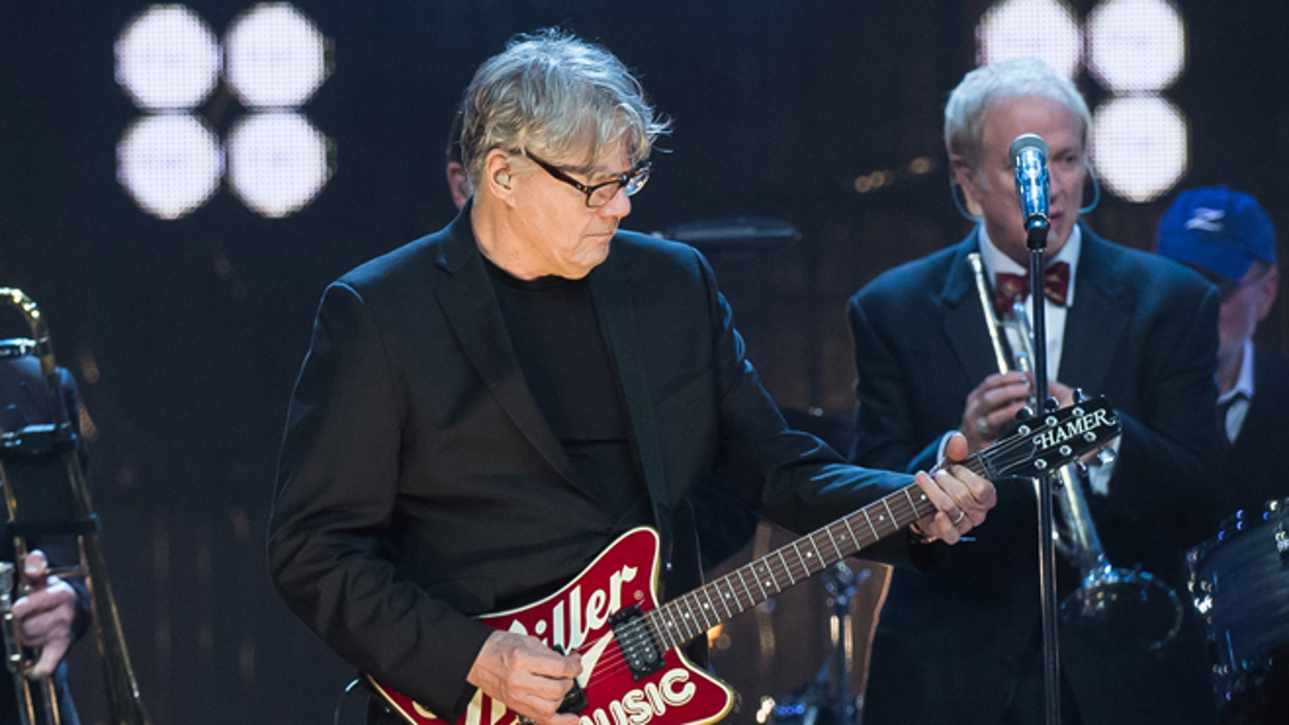 April 8, 2016. Inductee Steve Miller performs at the 31st Annual Rock and Roll Hall of Fame Induction Ceremony at the Barclays Center in New York.
