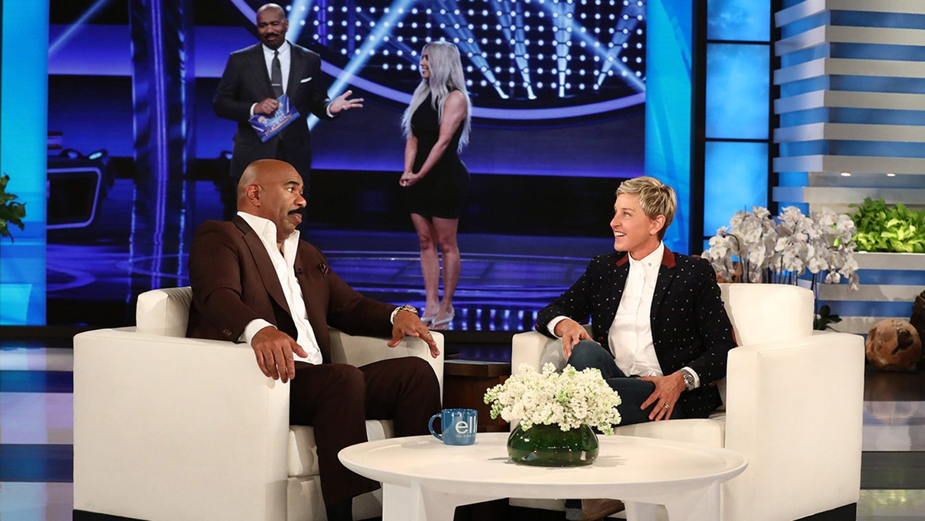 "Steve Harvey speaks to Ellen DeGeneres about the upcoming Kardashian episode of ""Family Feud."""