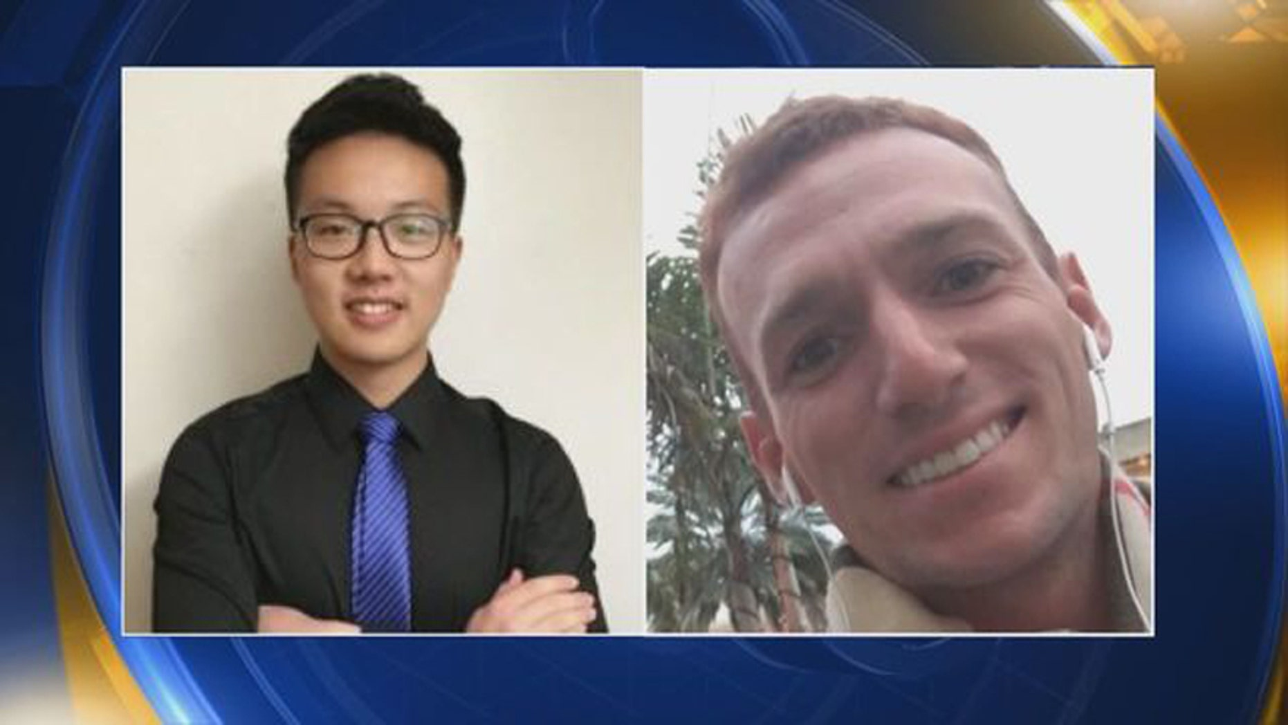(Left) Jie Luo, an international student at Colorado State University and (left) Andrew Dillman, a crew member on a charted 71-foot yacht, who went missing.