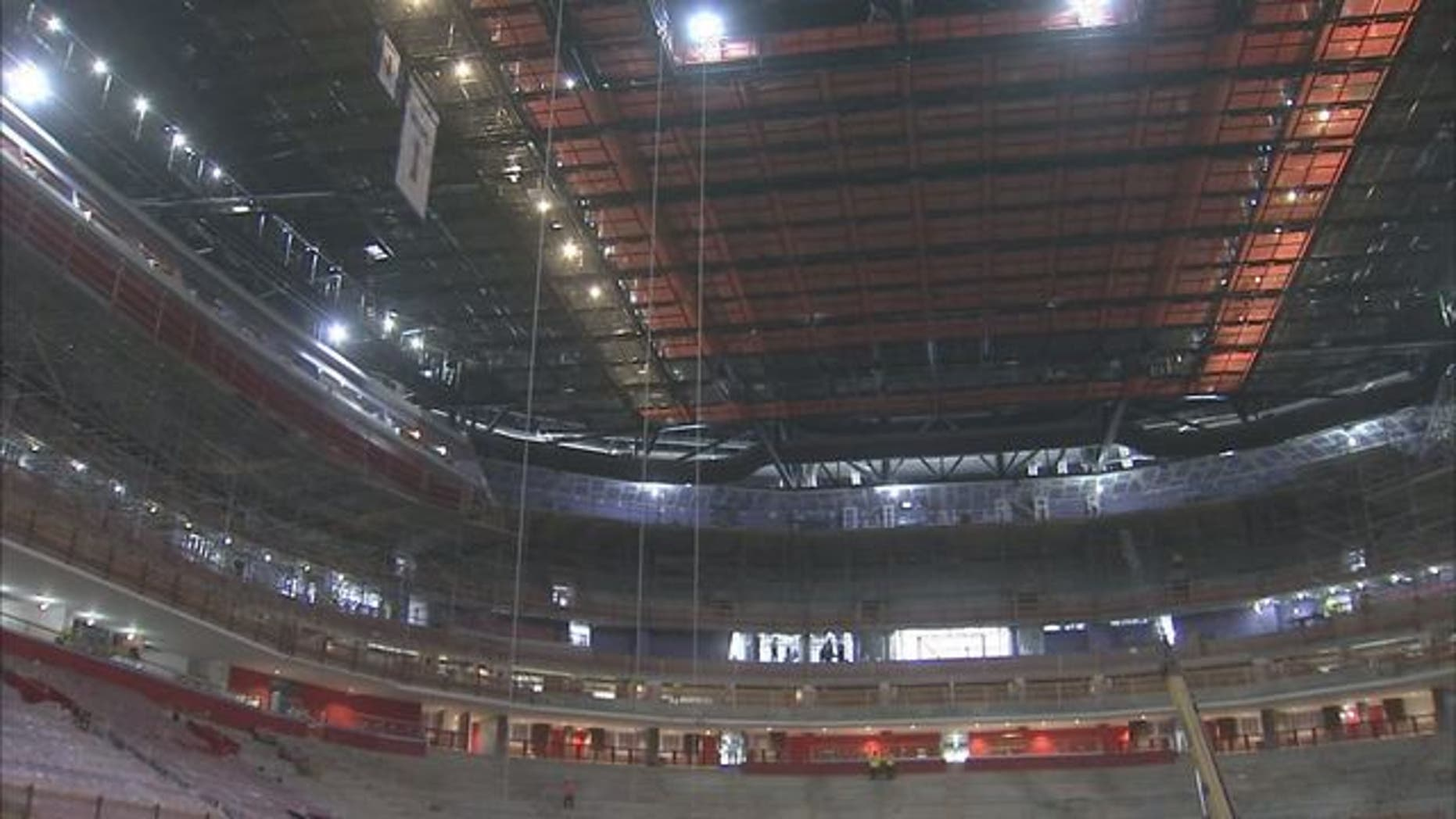 The worker fell to his death while working at Little Caesars Arena in Detroit Wednesday morning, authorities said. (Fox 2)
