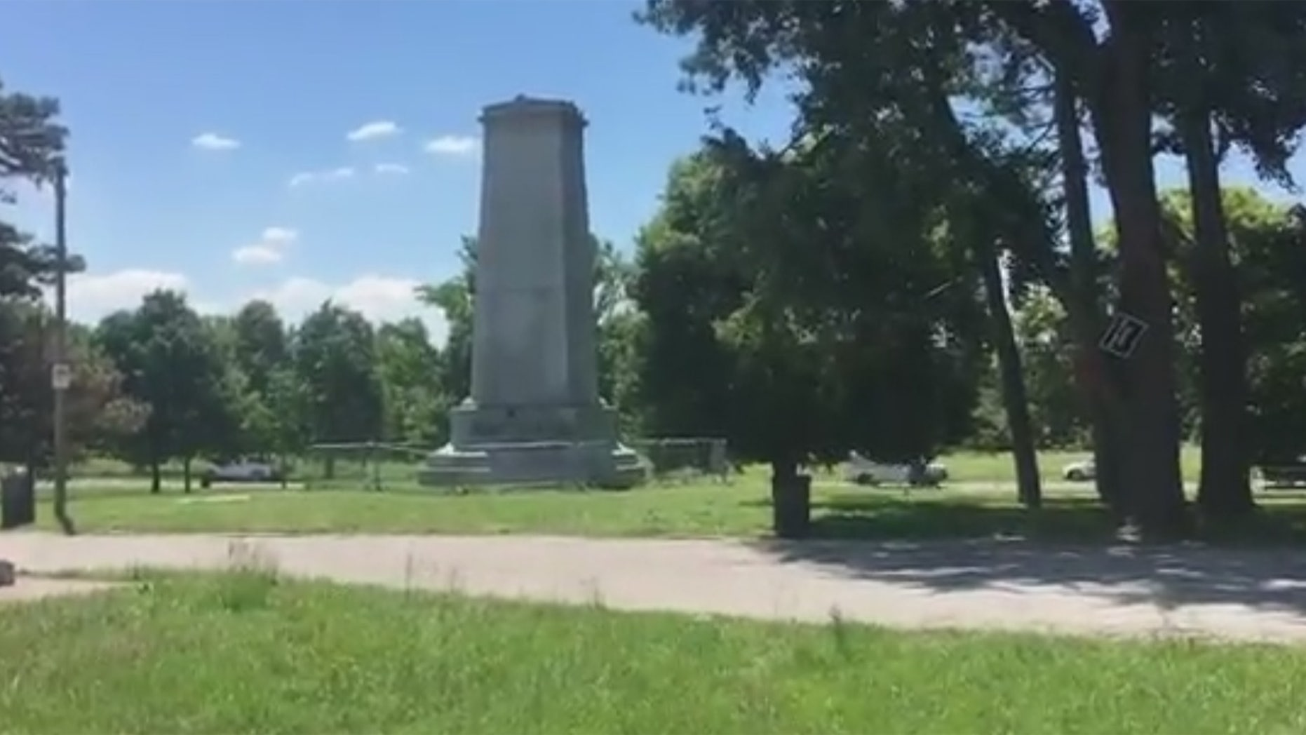 The Confederate monument was placed in the park in 1914 by the Daughters of the Confederacy.