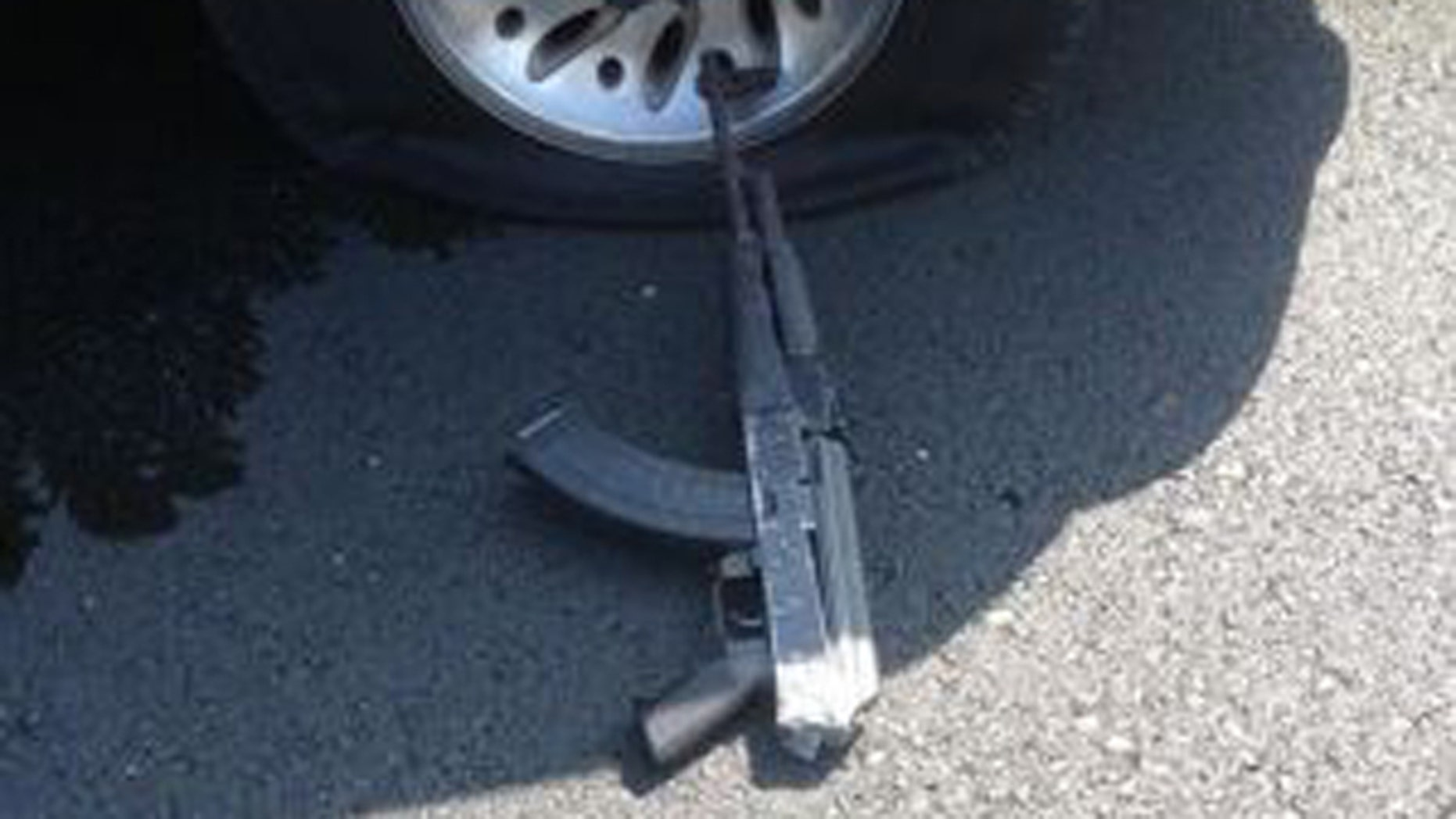 July 16, 2014: This photo shows a gun used by one of three bank robbers following a high-speed chase and gun battle in Stockton, California (Stockton Police Department)