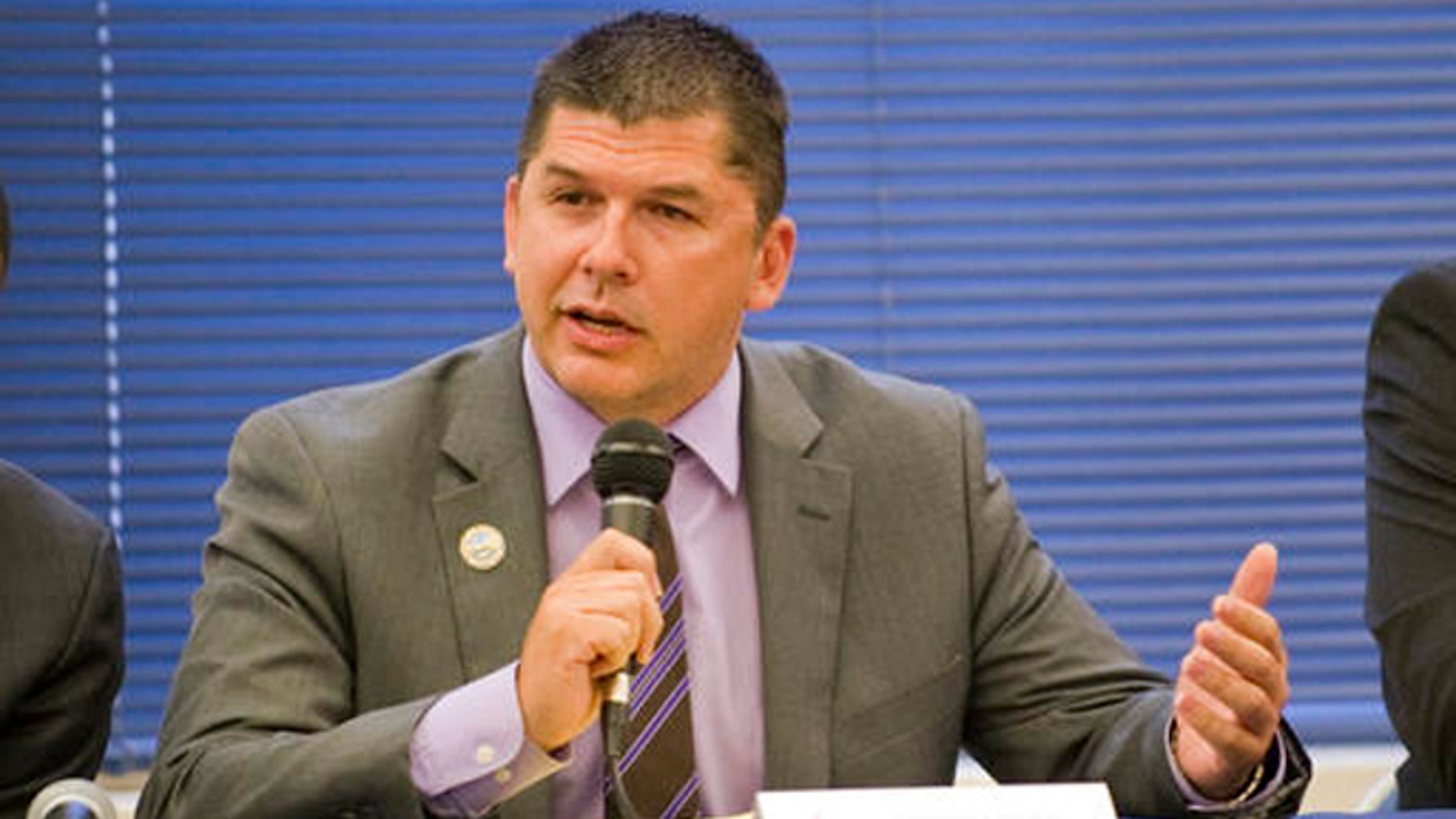 In this April 21, 2016 photo, Stockton Mayor Anthony Silva participates in a mayoral candidate forum hosted by the National Association for the Advancement of Colored People in Stockton, Calif.