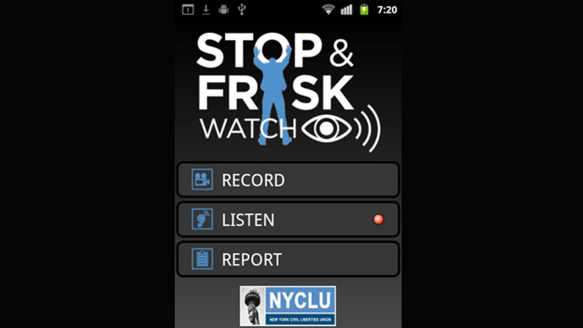 """The main screen for the NYCLU's """"Stop and Frisk Watch"""" smartphone app."""