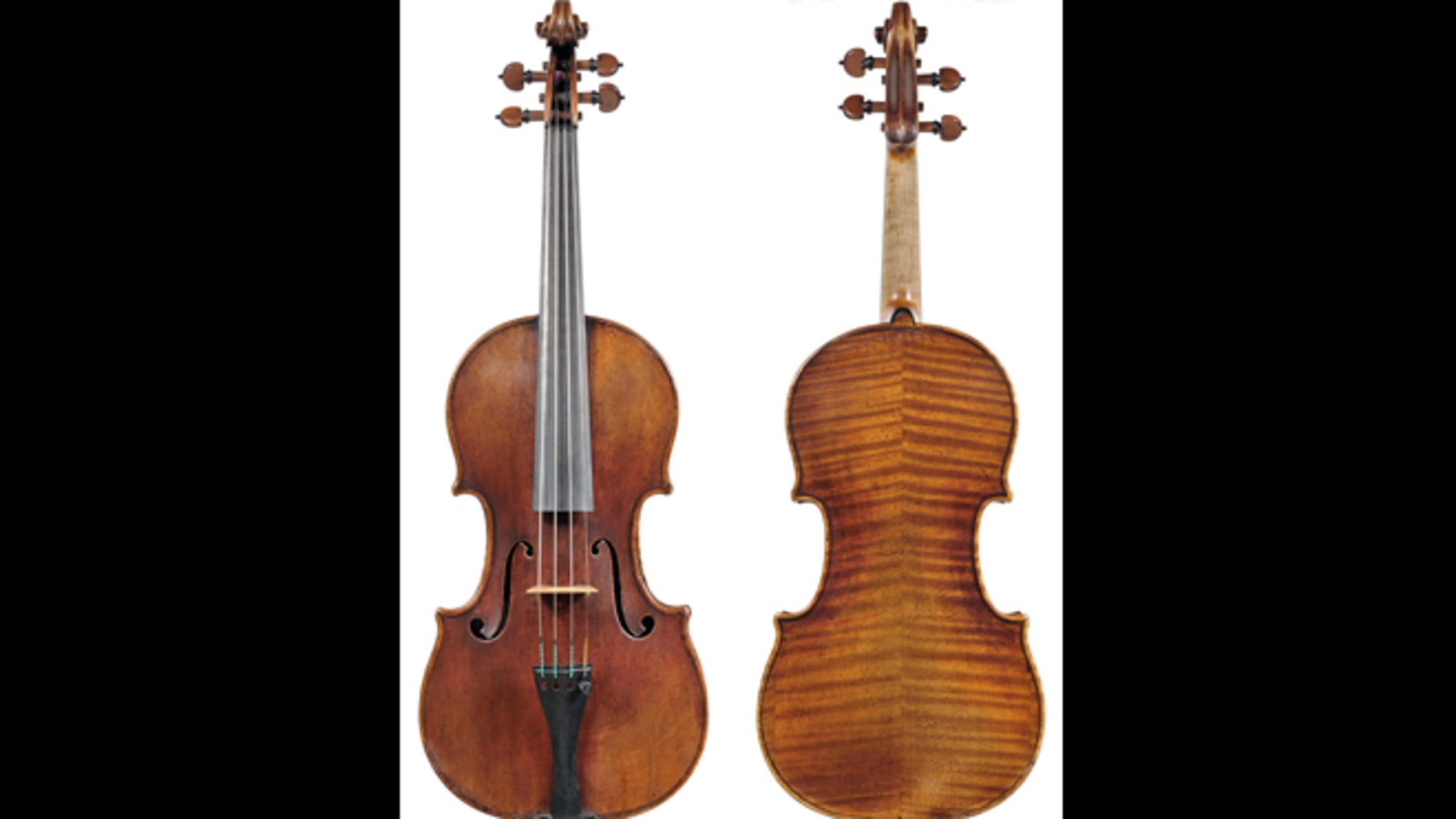 In this undated photo provided by the Milwaukee Symphony Orchestra is the 300-year-old Stradivarius violin that was stolen from MSO concertmaster Frank Almond.