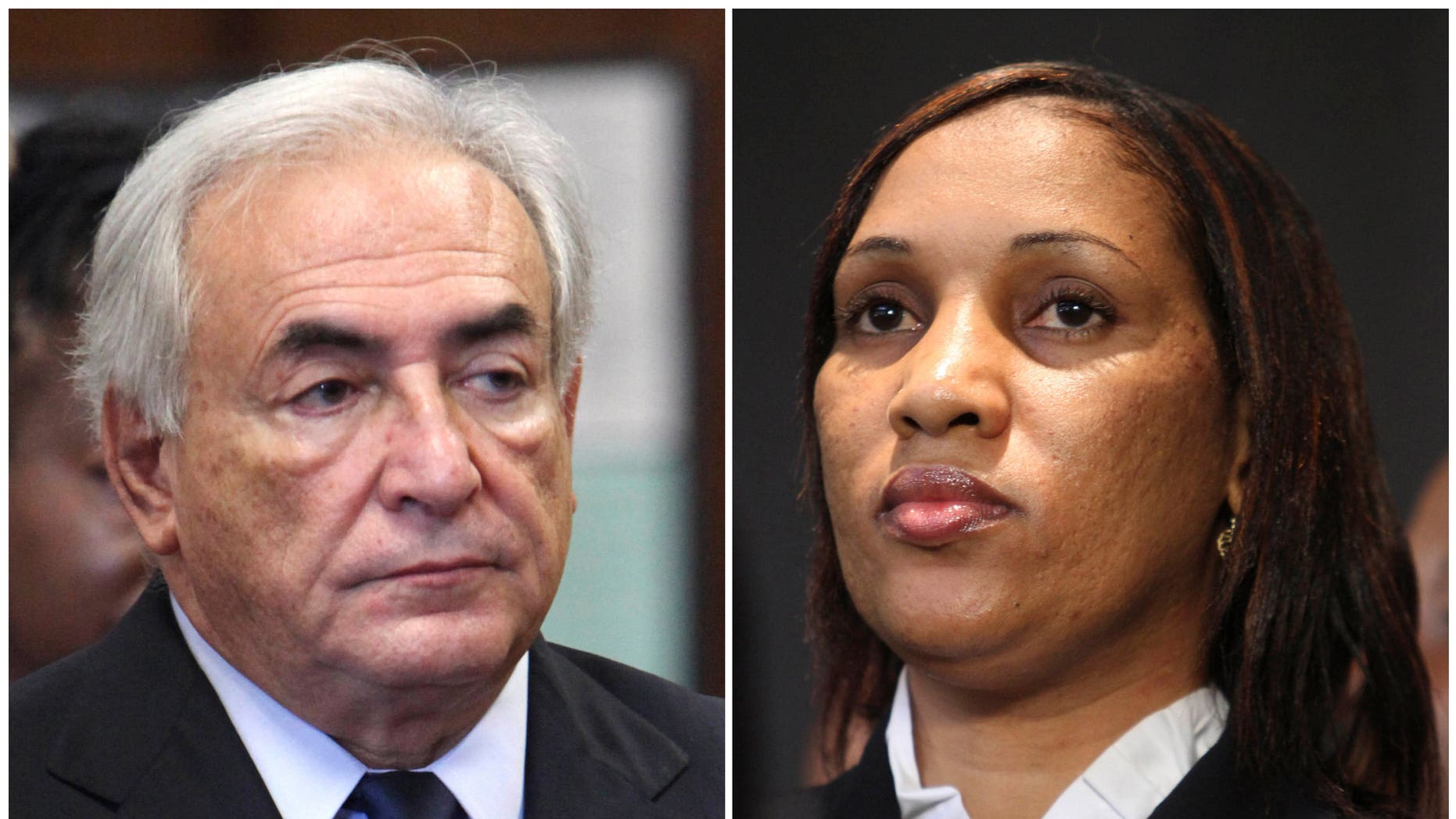 This combo made from file photos shows former International Monetary Fund leader Dominique Strauss-Kahn on June 6, 2011, left, and Nafissatou Diallo on July 28, 2011, in New York.