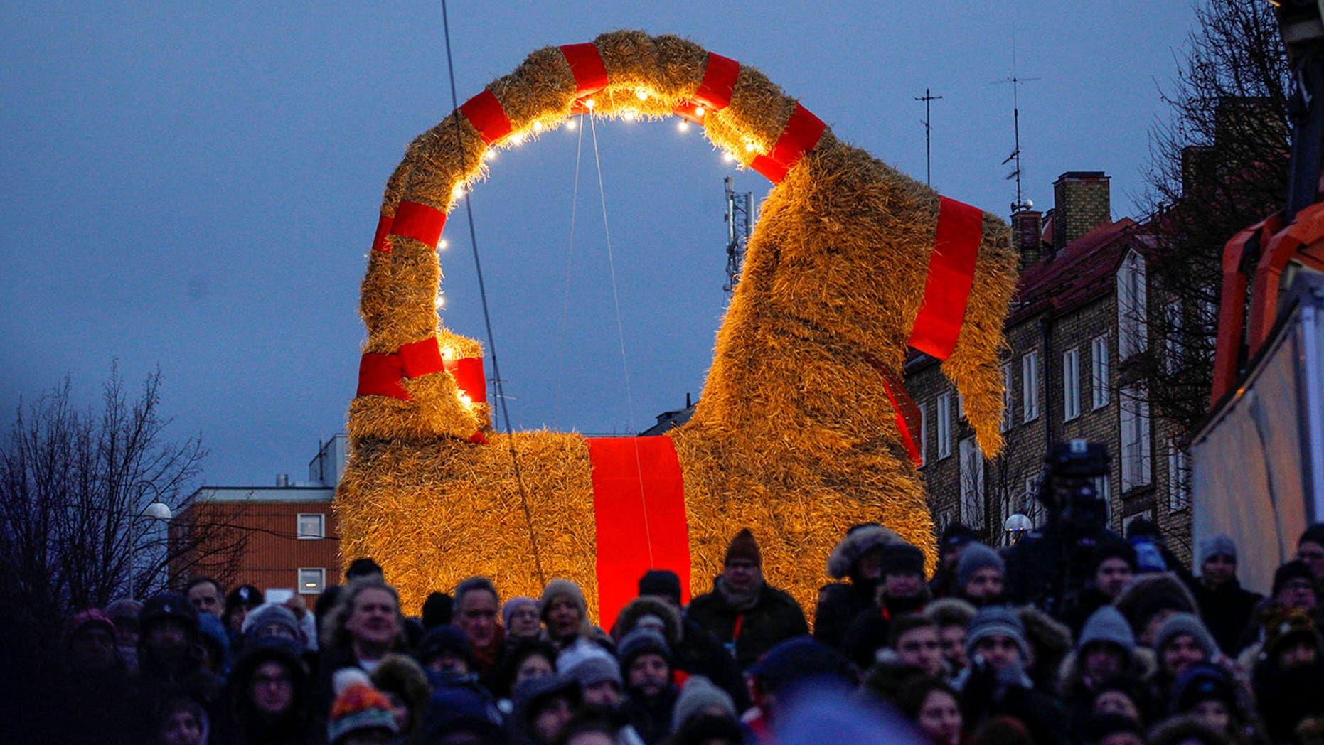 The traditional straw goat is displayed in Gavle, Sweden, in late Nov. 2016.