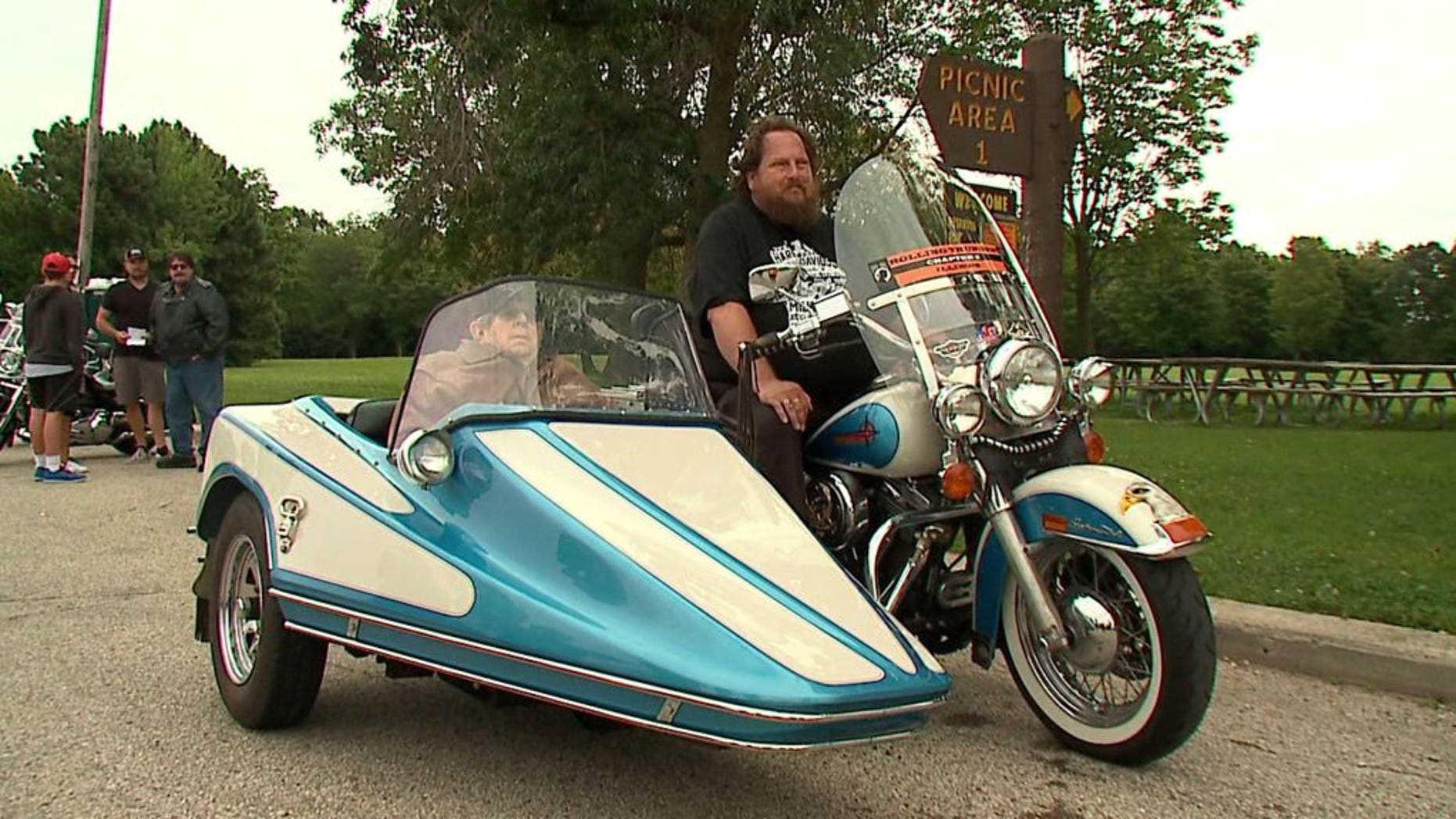 """Harley-Davidson fan Tom Strehlow was honored with a special """"last ride."""""""