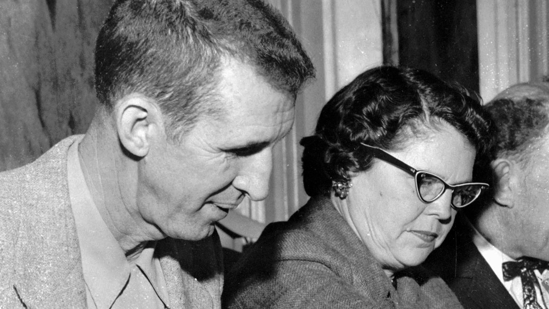 """FILE - This 1972 photo shows David """"Stringbean"""" Akeman and his wife, Estelle. The killer of the Grand Ole Opry and Hee Haw comic Akeman and his wife Estelle was granted parole Wednesday, Oct. 15, 2014, after 40 years in prison. John A. Brown, 64, was originally sentenced to 198 years, and the board has denied several previous parole requests.  (AP Photo/file)"""