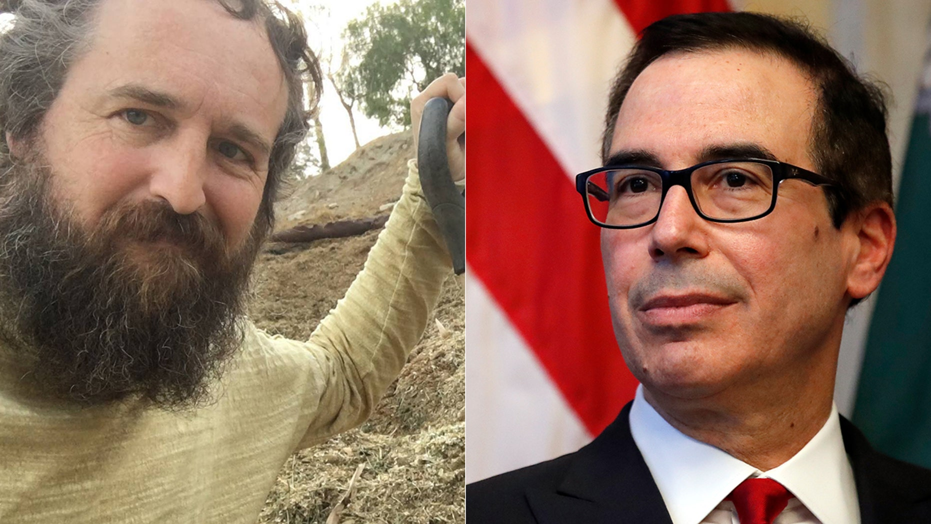 Robby Strong, left, claims he's the one behind the gift-wrapped package left outside Treasury Secretary Mnuchin's home that caused a stink.