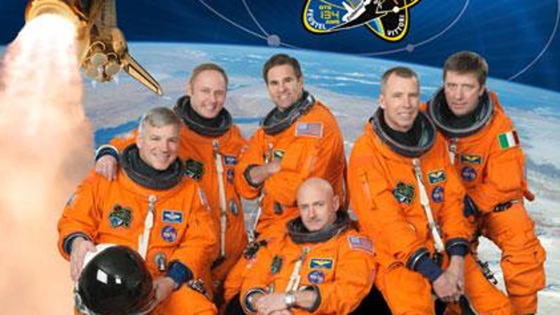 Mark Kelly, bottom center, is mission commander of Space Shuttle Endeavour's final mission and husband of wounded Arizona congresswoman Gabrielle Giffords. (Image courtesy NASA)