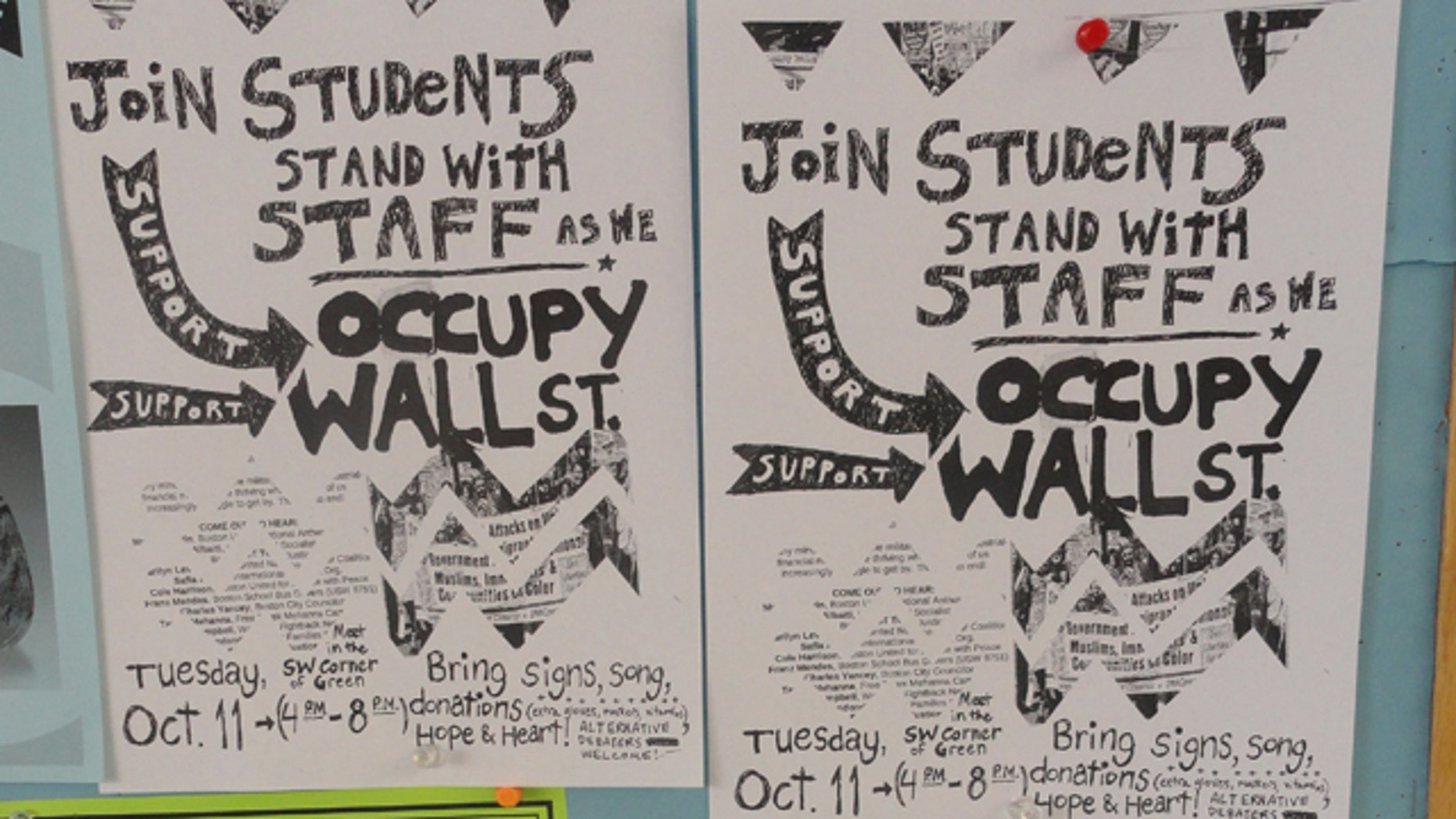 Shown here are posters advertising a protest at Dartmouth College on Oct. 11