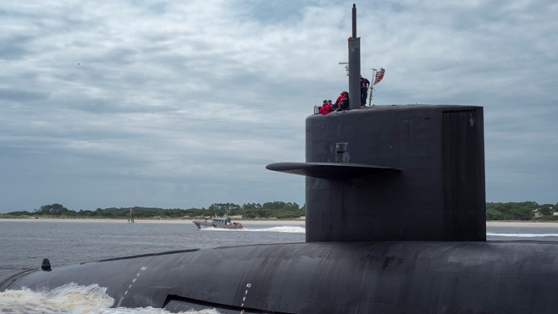 Feb 6, 2013: The Ohio-class ballistic missile submarine USS Tennessee transits the St. Marys Channel as it departs Naval Submarine Base Kings Bay, Georgia in this handout photo. (Reuters)