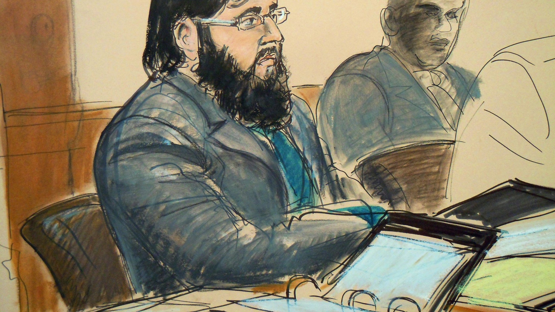 April 18: In this courtroom sketch, terror trial suspect Adis Medunjanin, accused in a foiled plot to attack New York City subways, sits in federal court in Brooklyn, New York.