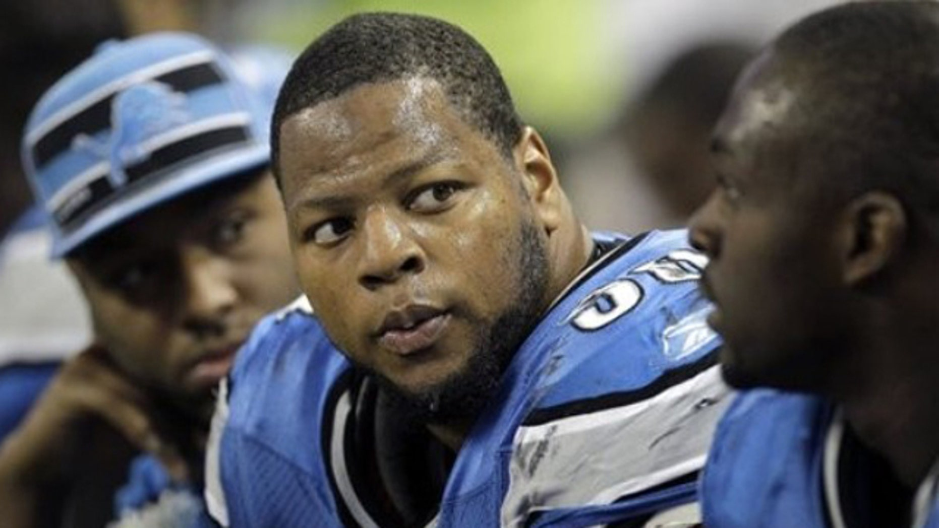 Nov. 20, 2011: FILE - In this file photo, Detroit Lions defensive tackle Ndamukong Suh (90) sits on the bench during the fourth quarter of an NFL football game against the Carolina Panthers, in Detroit.