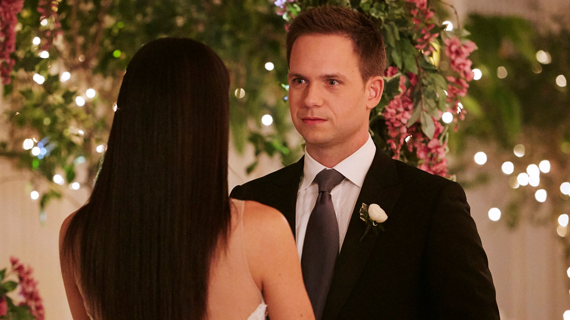 "SUITS -- ""Good-Bye"" Episode 716 -- Pictured: Patrick J. Adams as Mike Ross -- (Photo by: Ian Watson/USA Network)"
